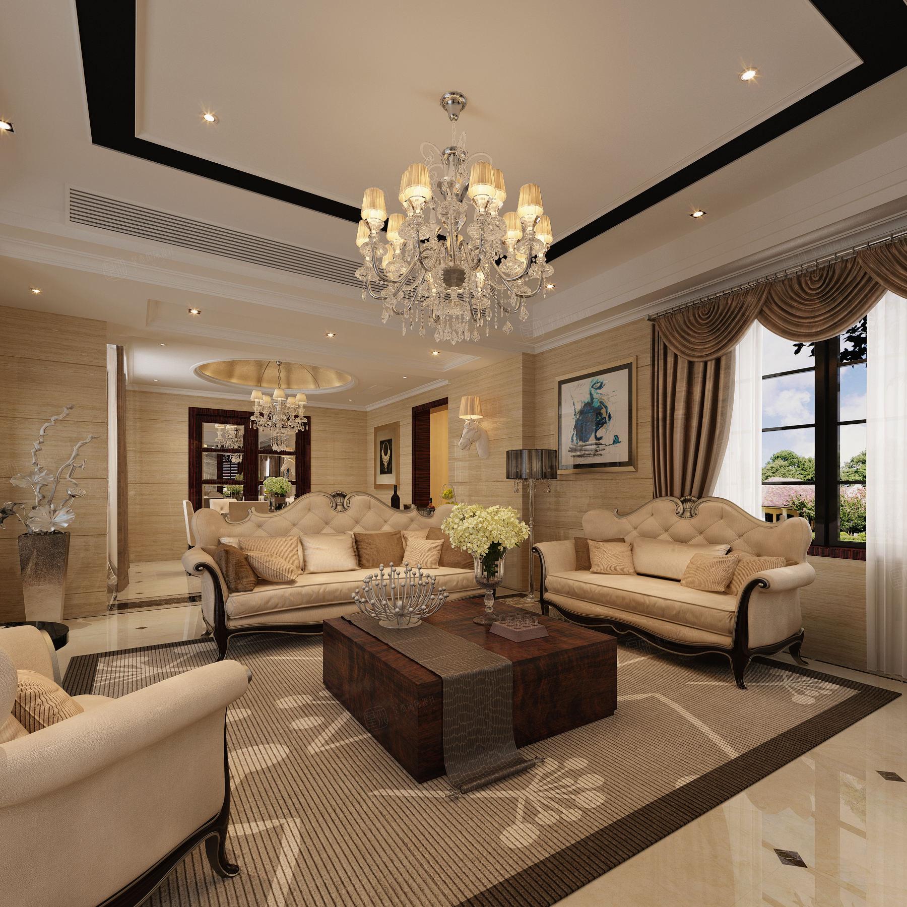 中金海棠湾 新古典风格装修客厅效果图