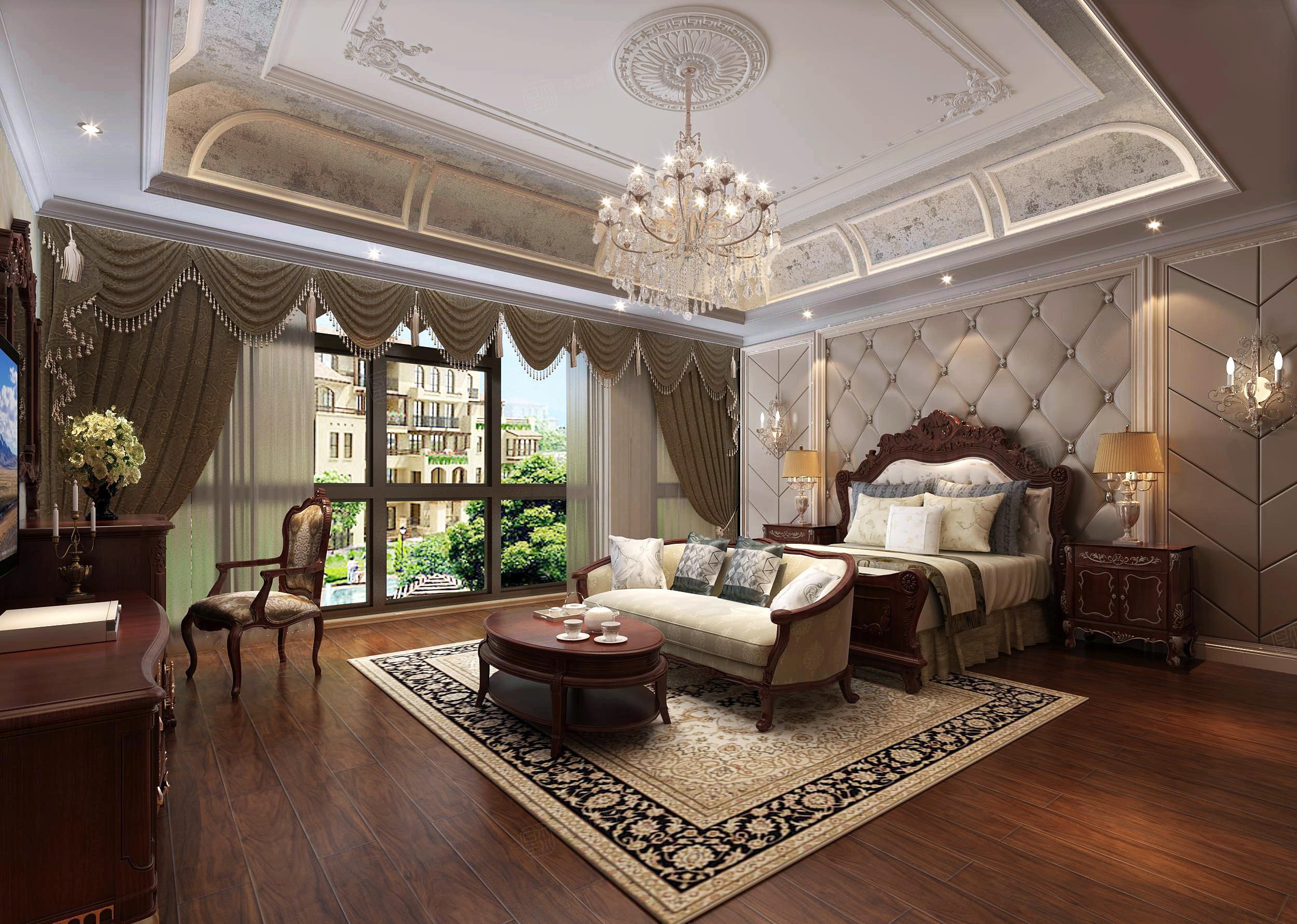 华兴别墅 欧式装修卧室效果图