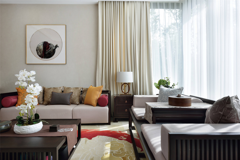 三湘森林海尚   新中式裝修客廳效果圖