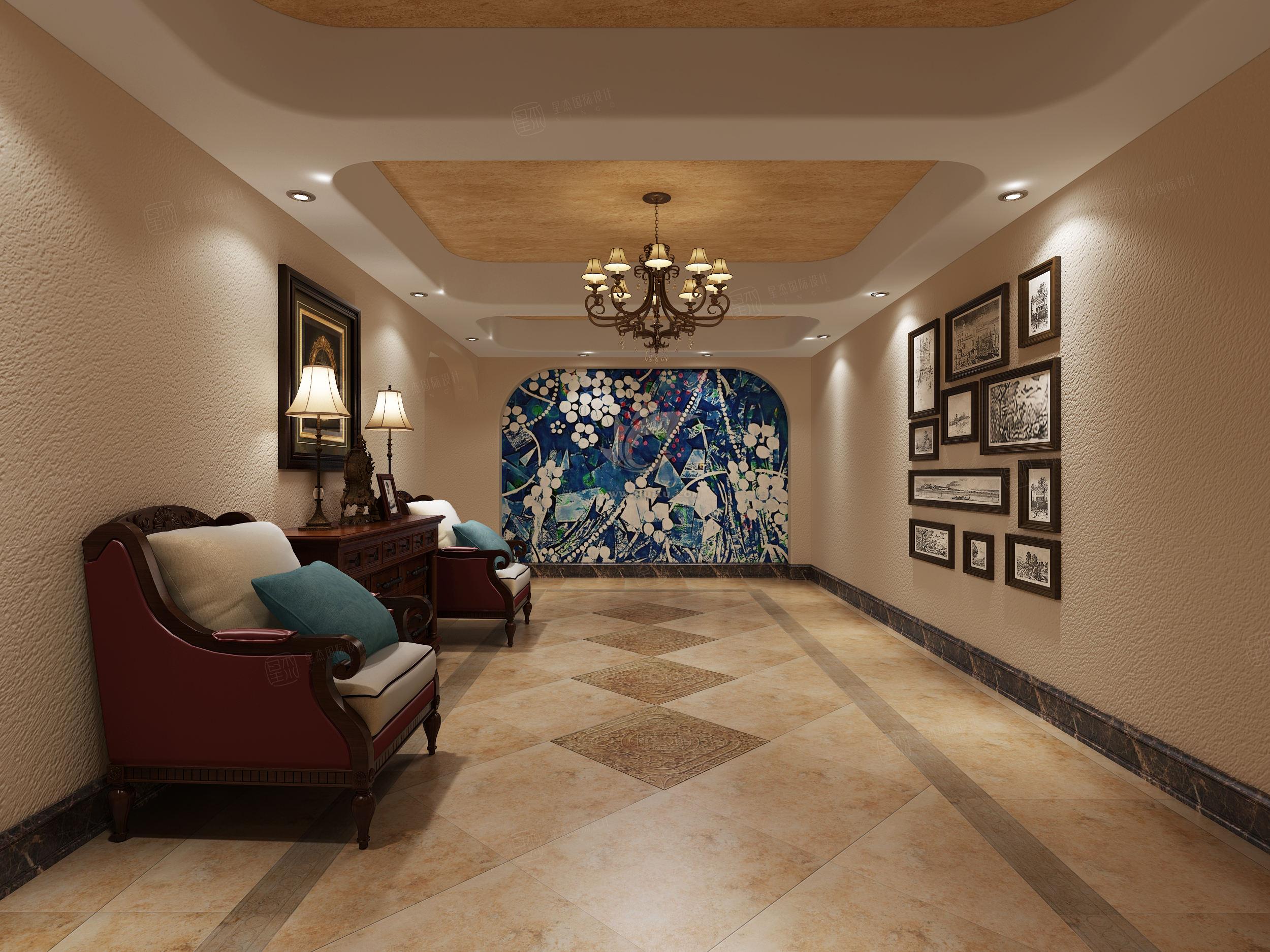 紫御豪庭 西班牙地中海装修会客厅效果图
