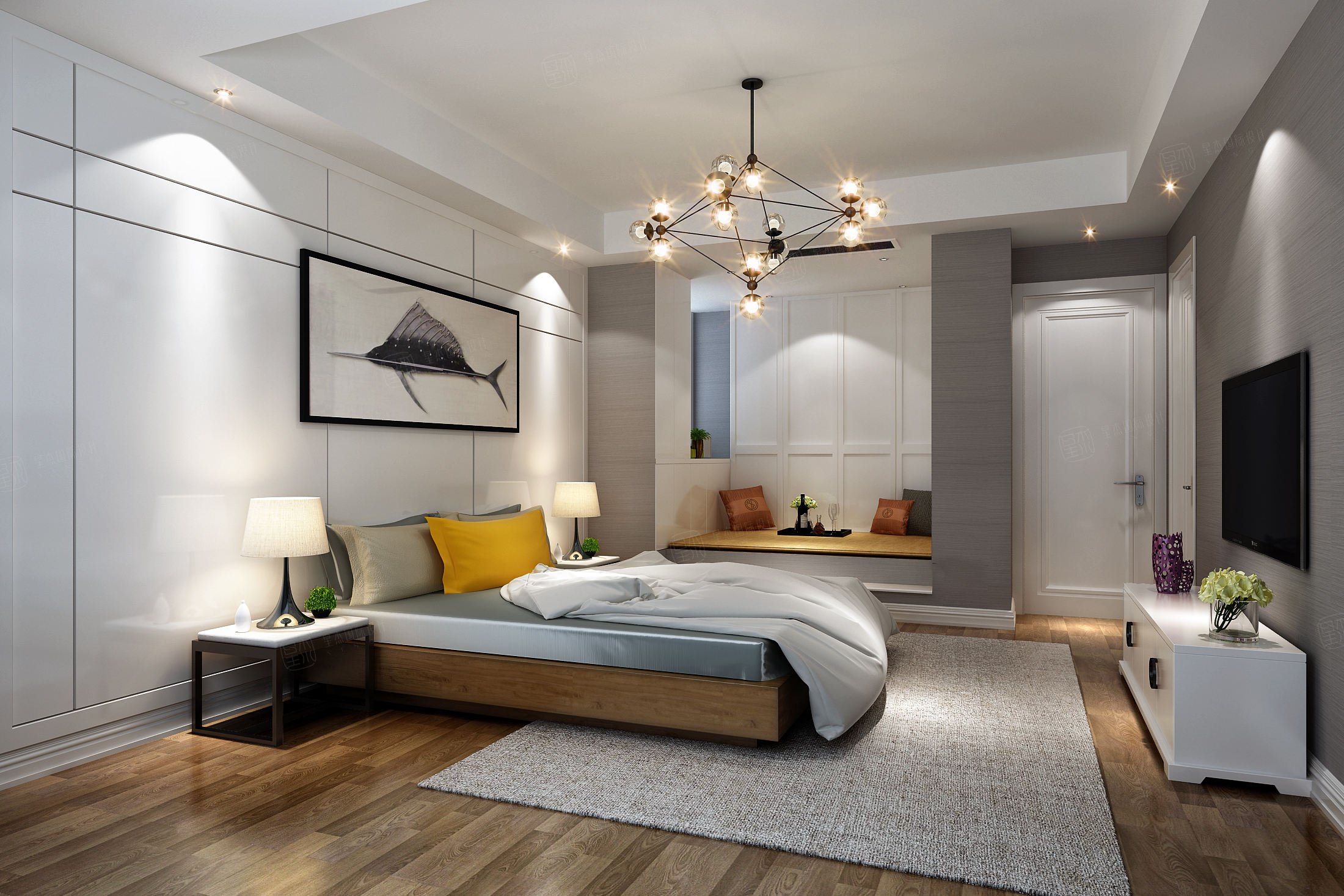 红醍半岛 新中式兼工业风装修卧室效果图