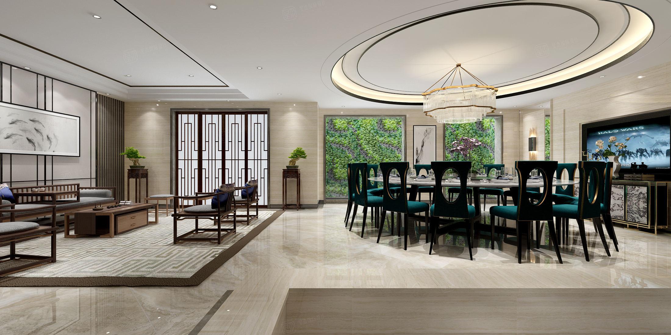 中海紫御豪庭 中式装修餐厅效果图