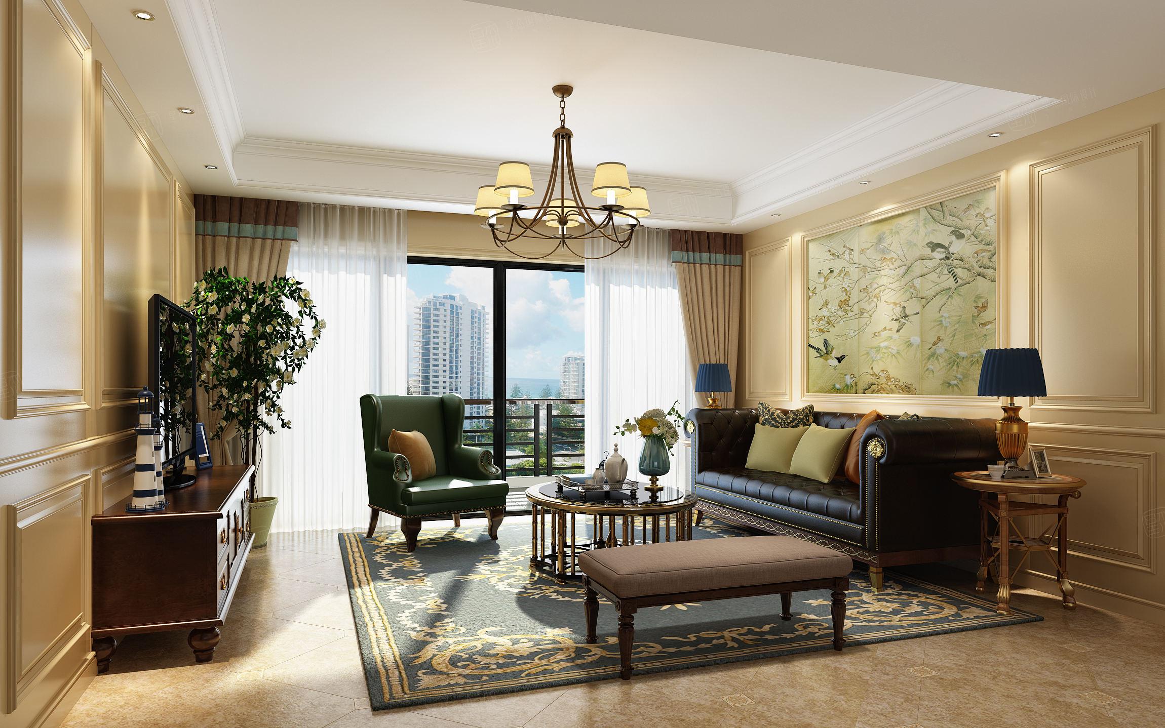 尚海郦景 美式装修客厅效果图