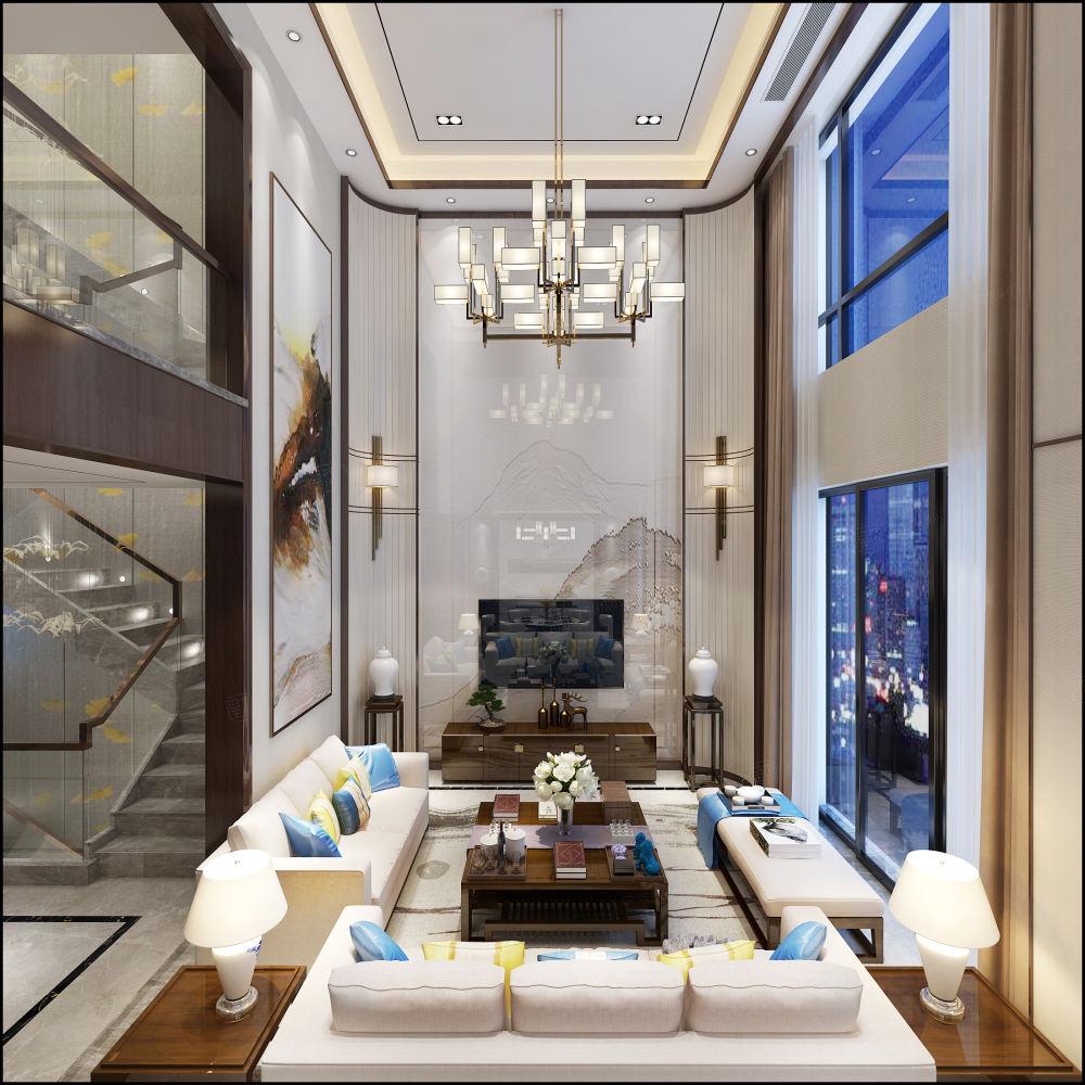 绿地海域天境 新中式装修客厅效果图