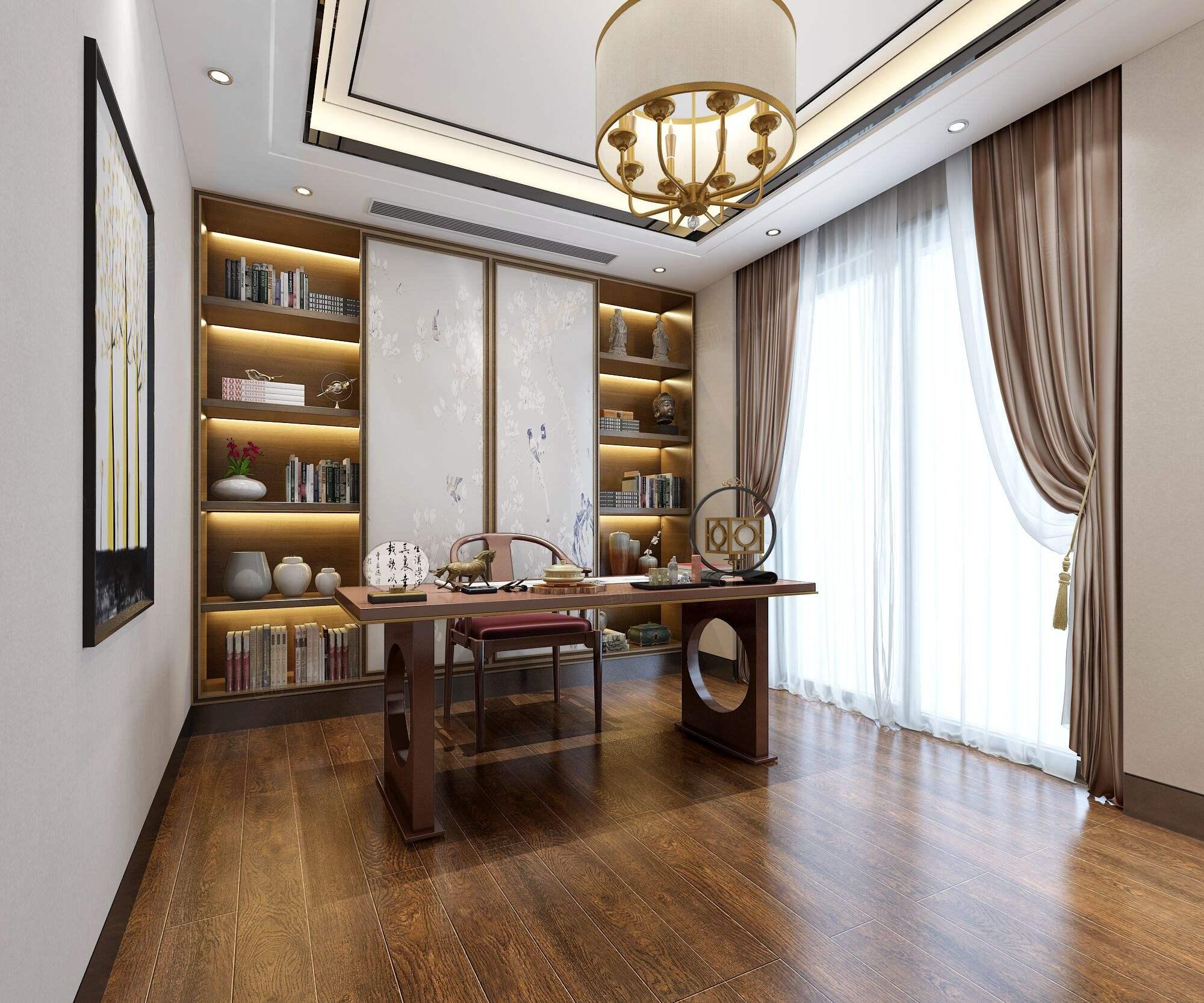 中海紫御豪庭 中式装修书房效果图