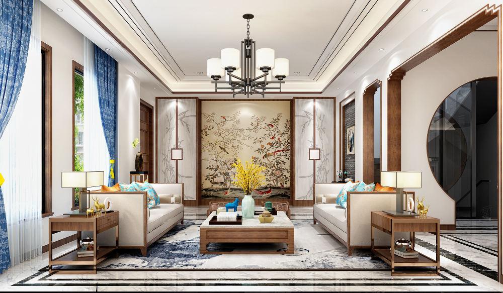 中海紫御豪庭 新中式装修客厅效果图