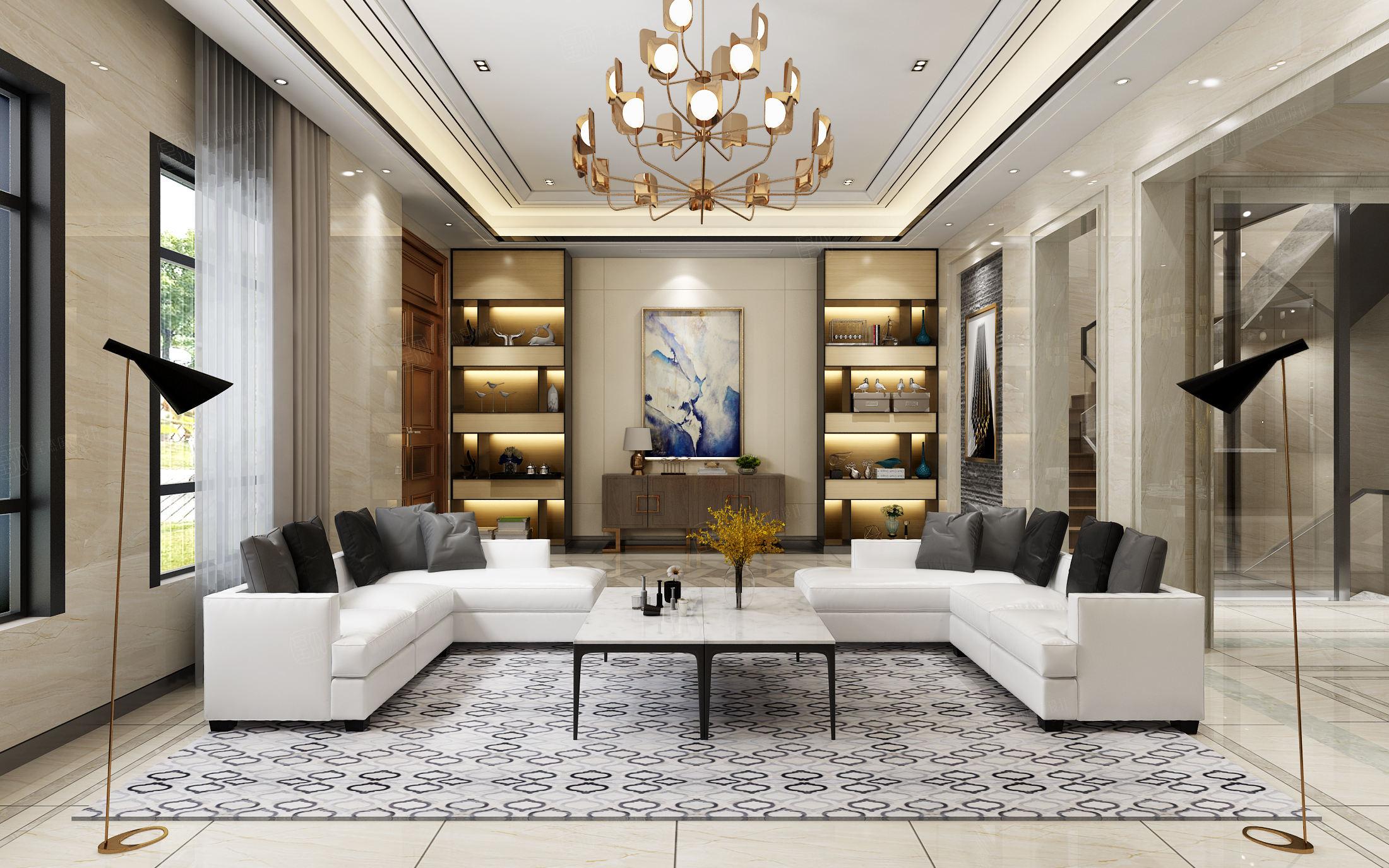 中海紫御豪庭 中式装修客厅效果图