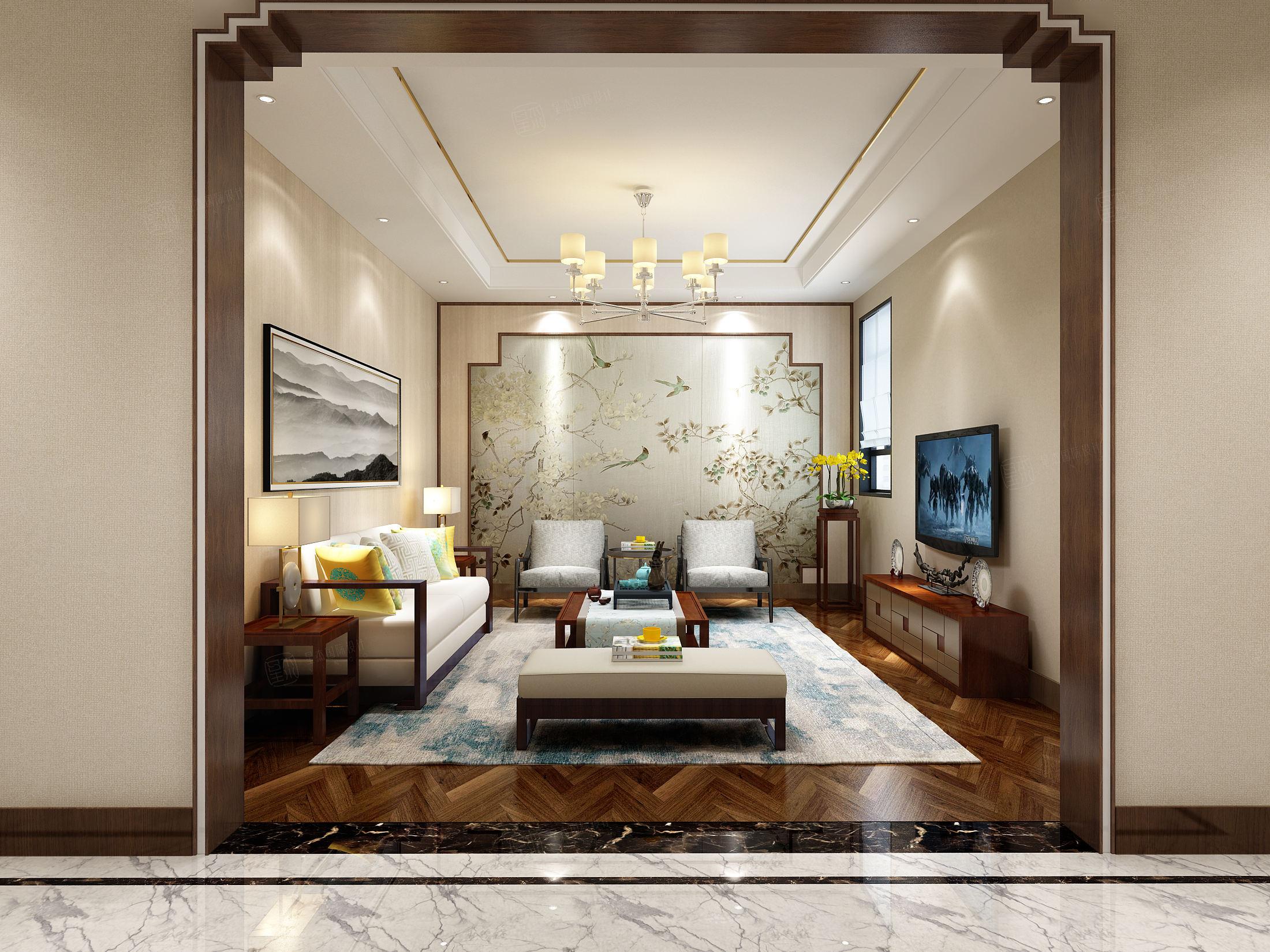 中海紫御豪庭 新中式装修起居室效果图