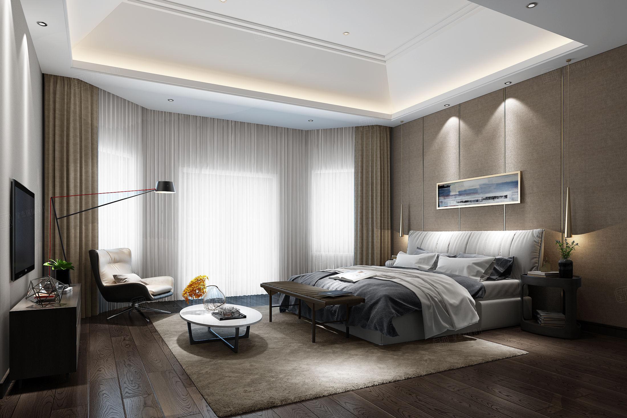 东海御庭 现代中式装修卧室效果图
