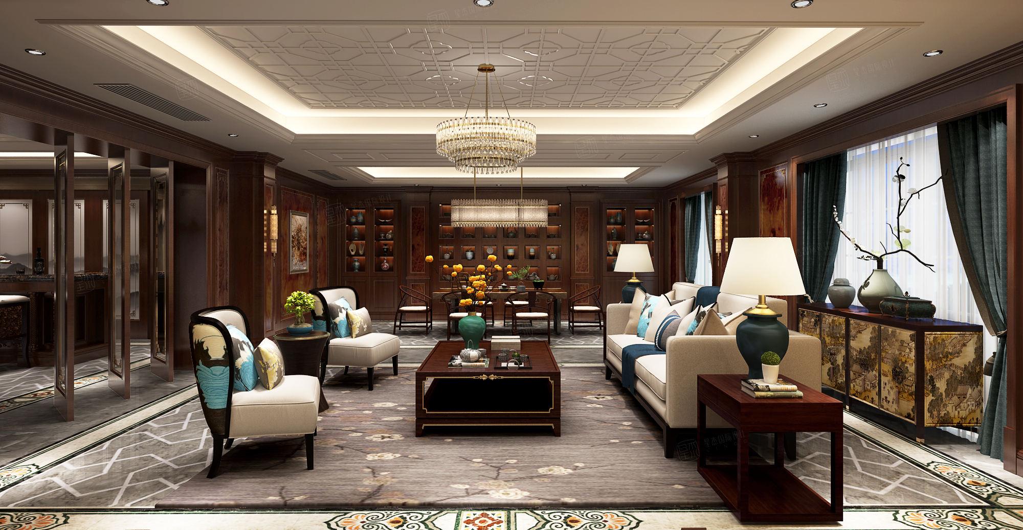 东郊半岛 新中式装修会客厅效果图