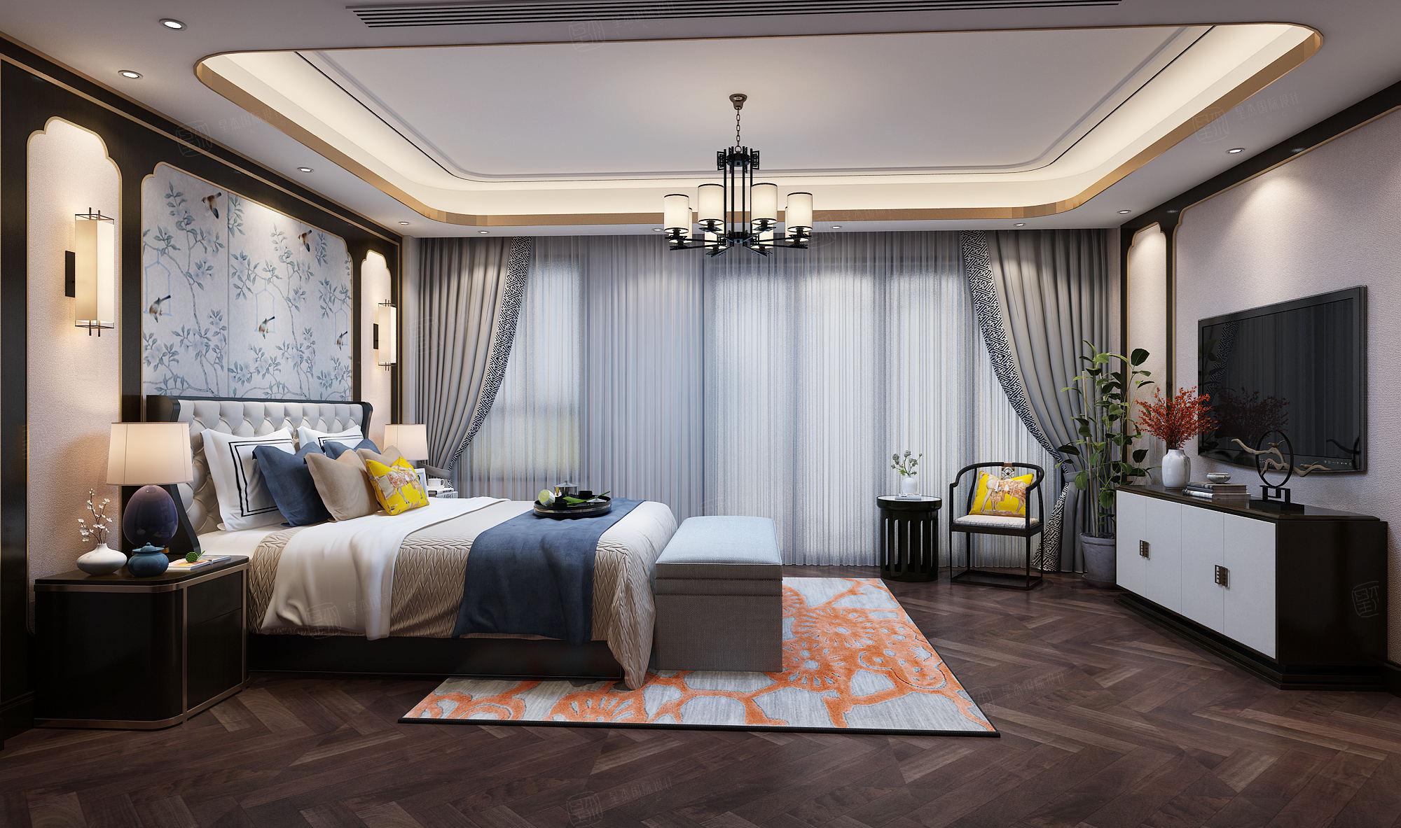 新弘墅园 新中式装修卧室效果图
