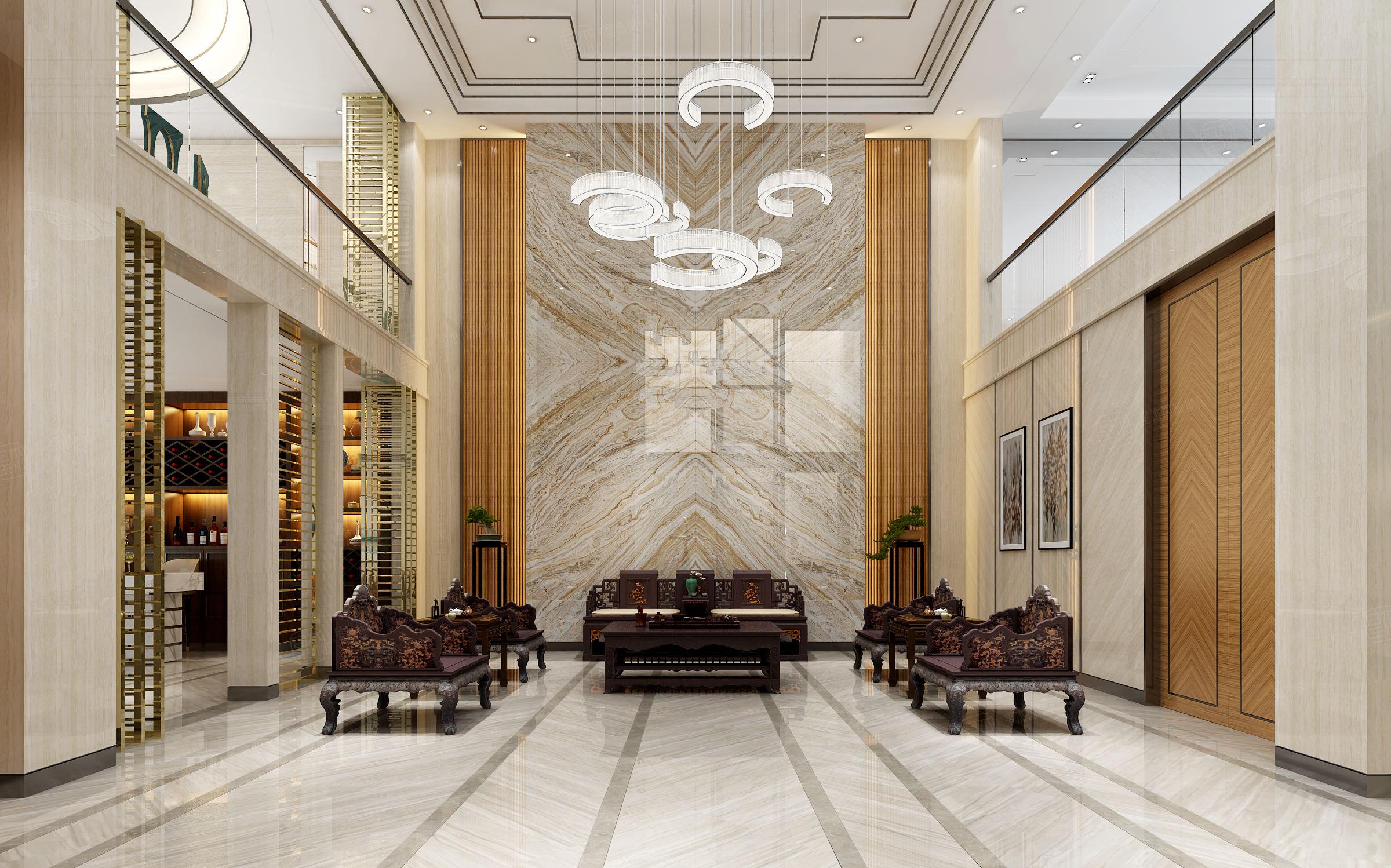 中海紫御豪庭 中式装修会客厅效果图