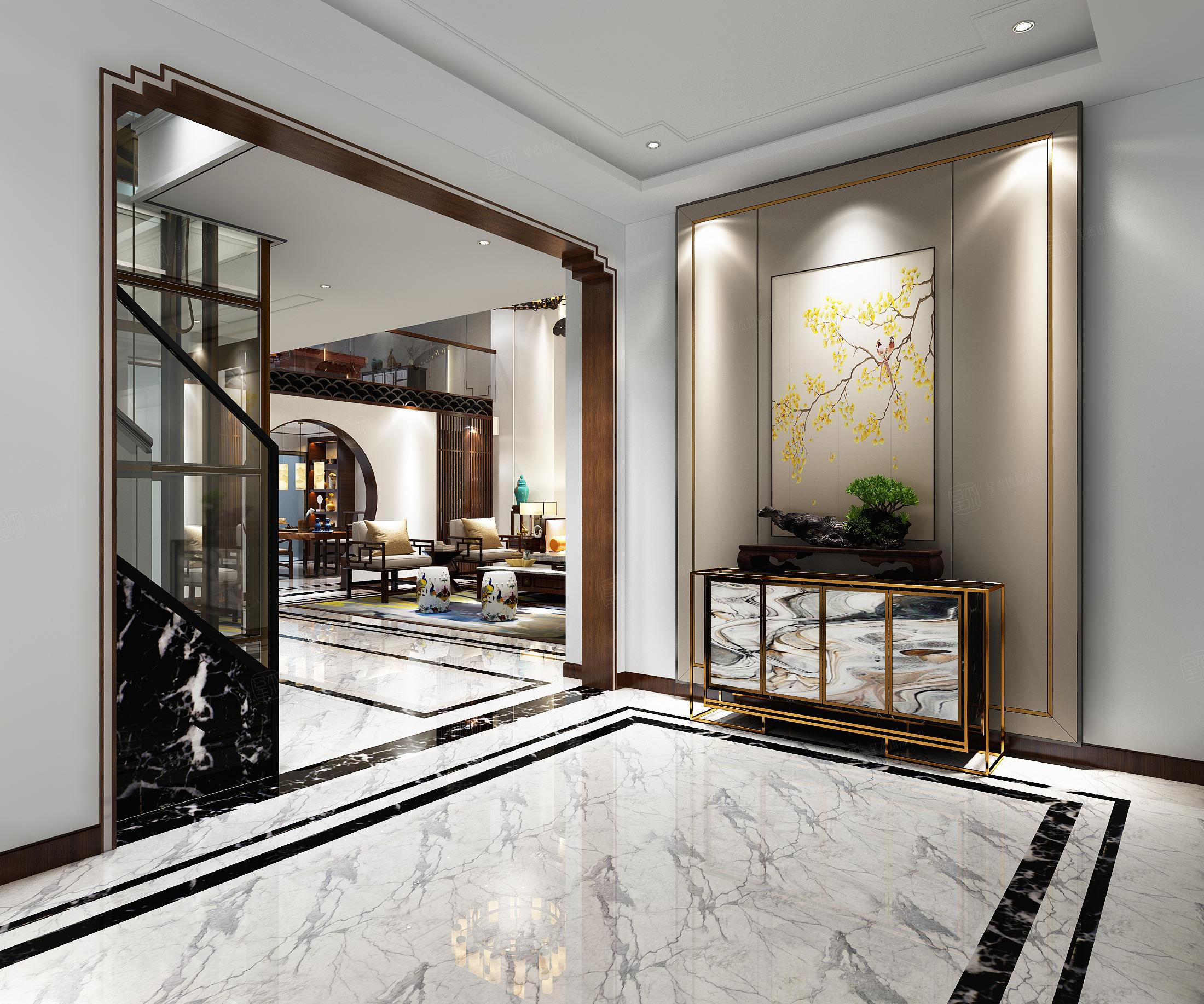 中海紫御豪庭 新中式装修门厅效果图