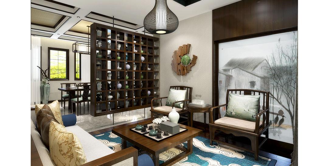 观庭别墅 新中式装修茶室效果图