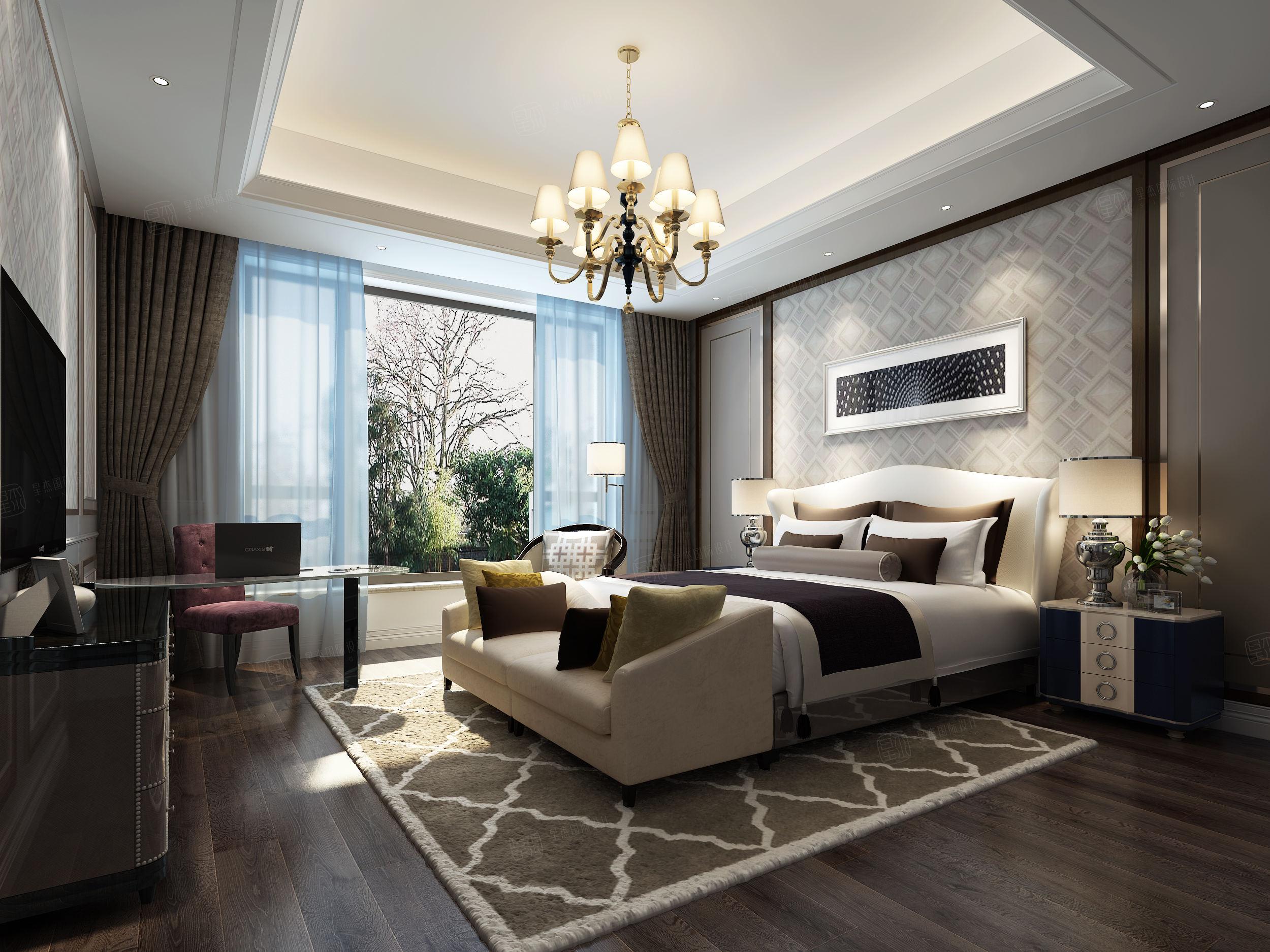 中海紫御豪庭 欧式装修卧室效果图