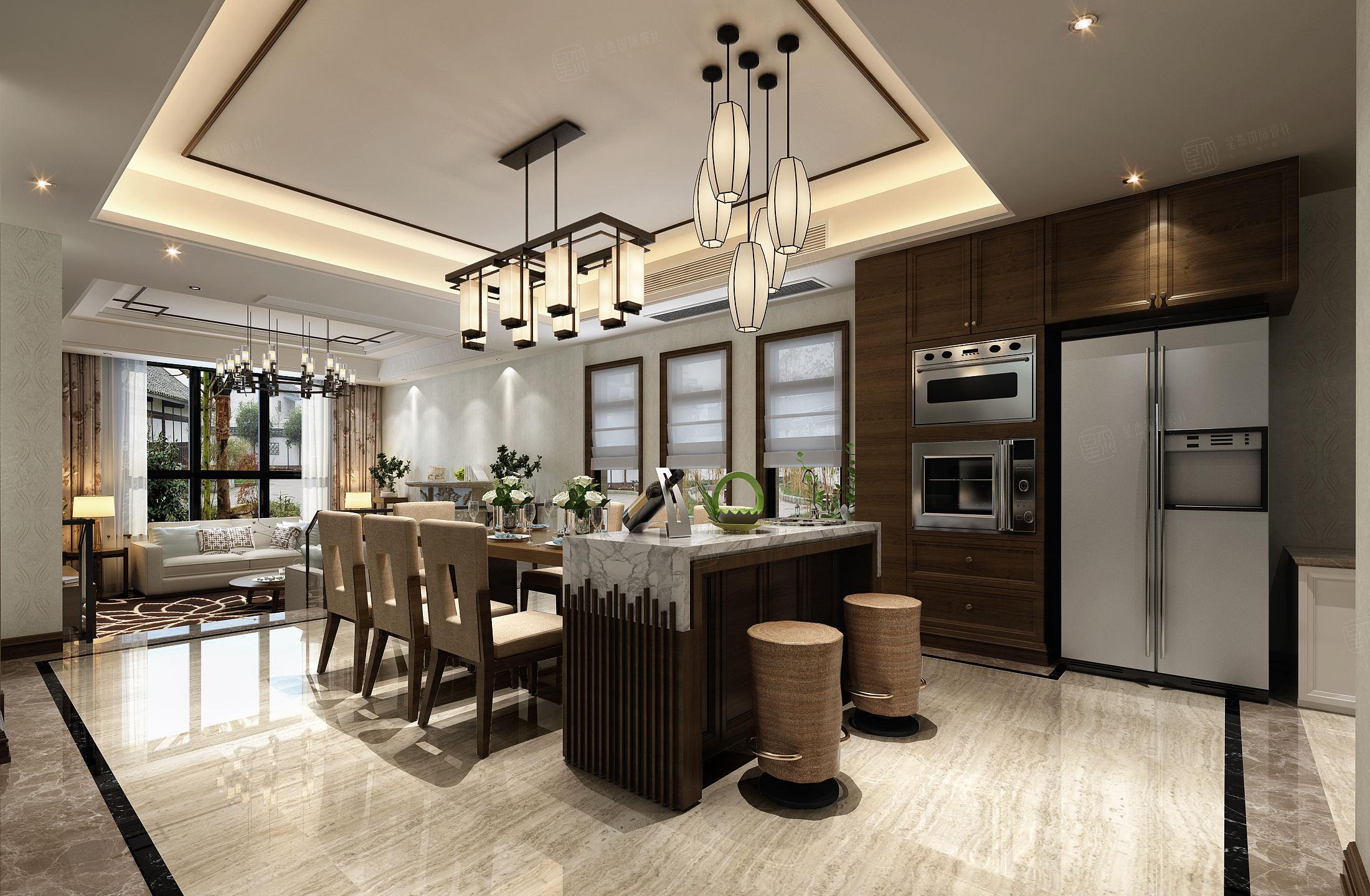 红醍半岛 新中式兼工业风装修餐厅效果图