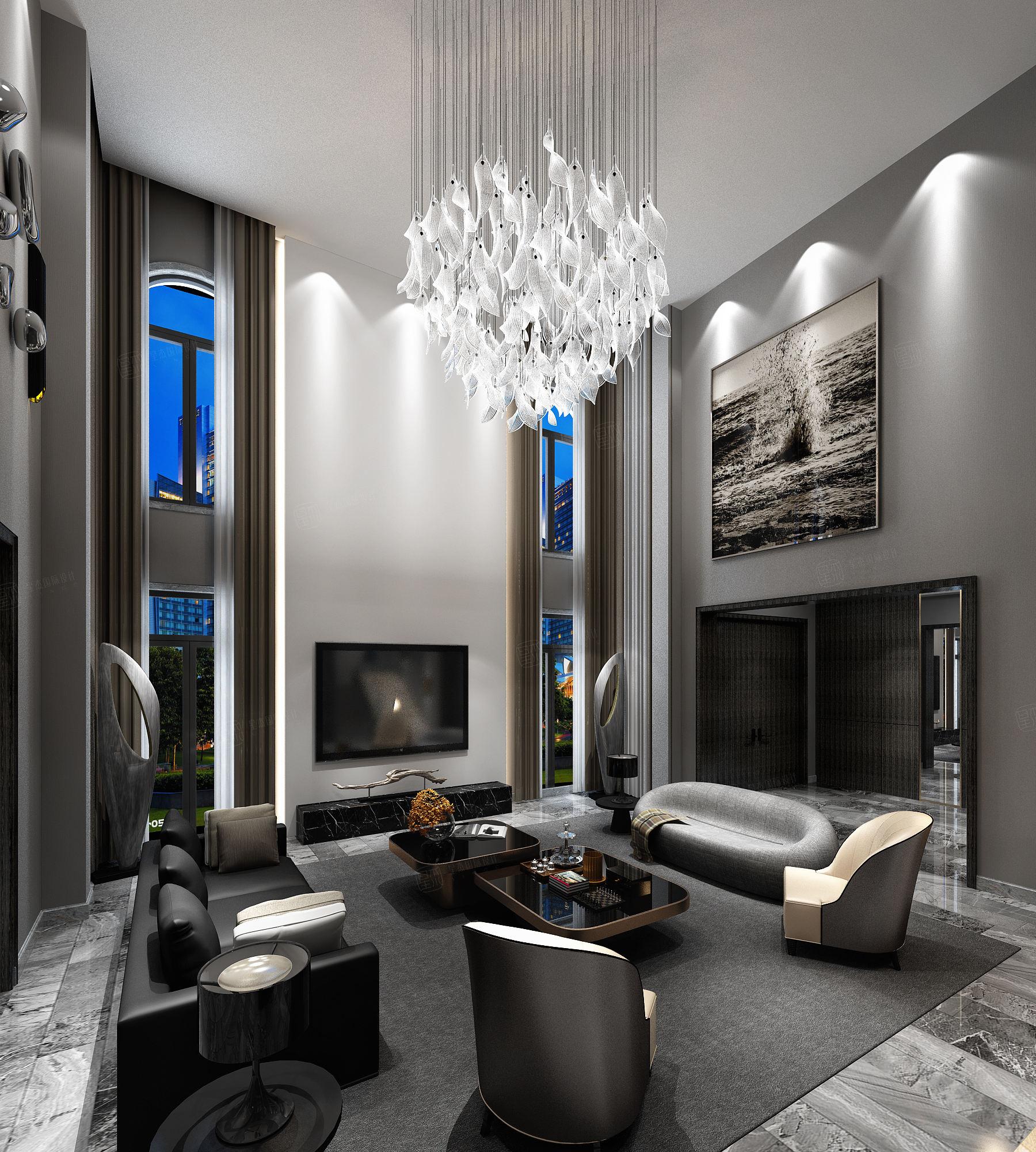 东海御庭 现代风格装修客厅效果图