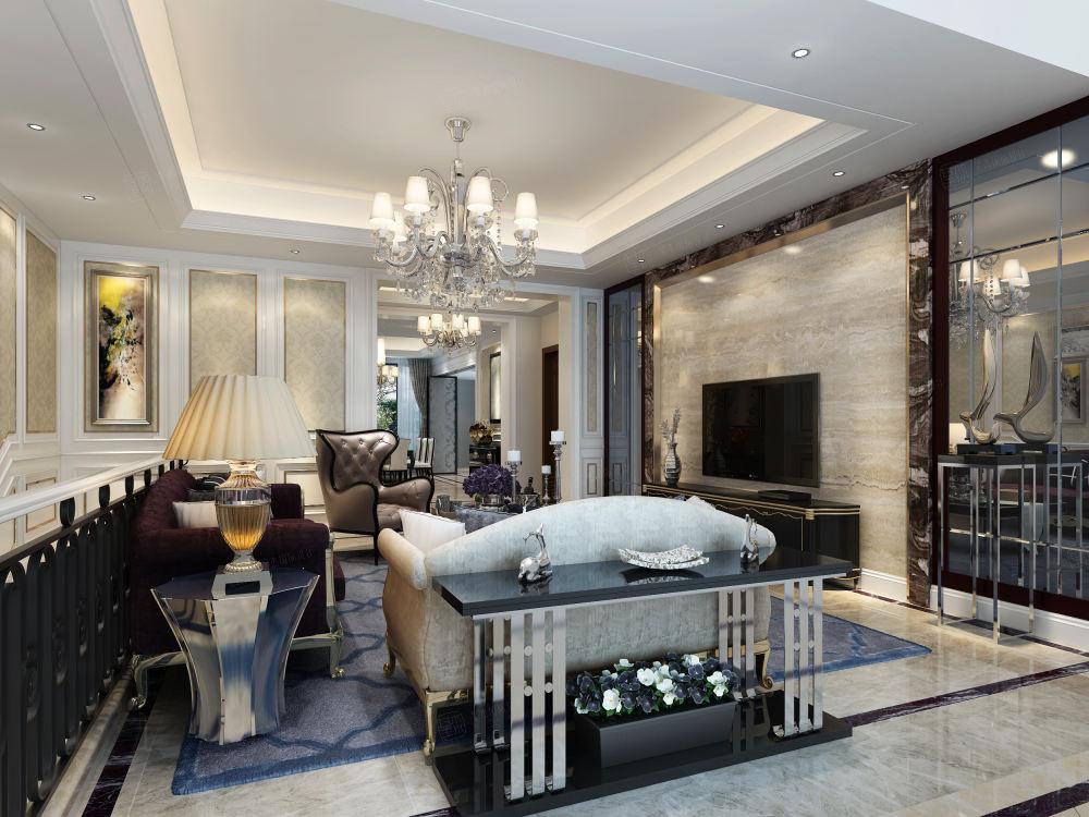 中海紫御豪庭 欧式装修客厅效果图