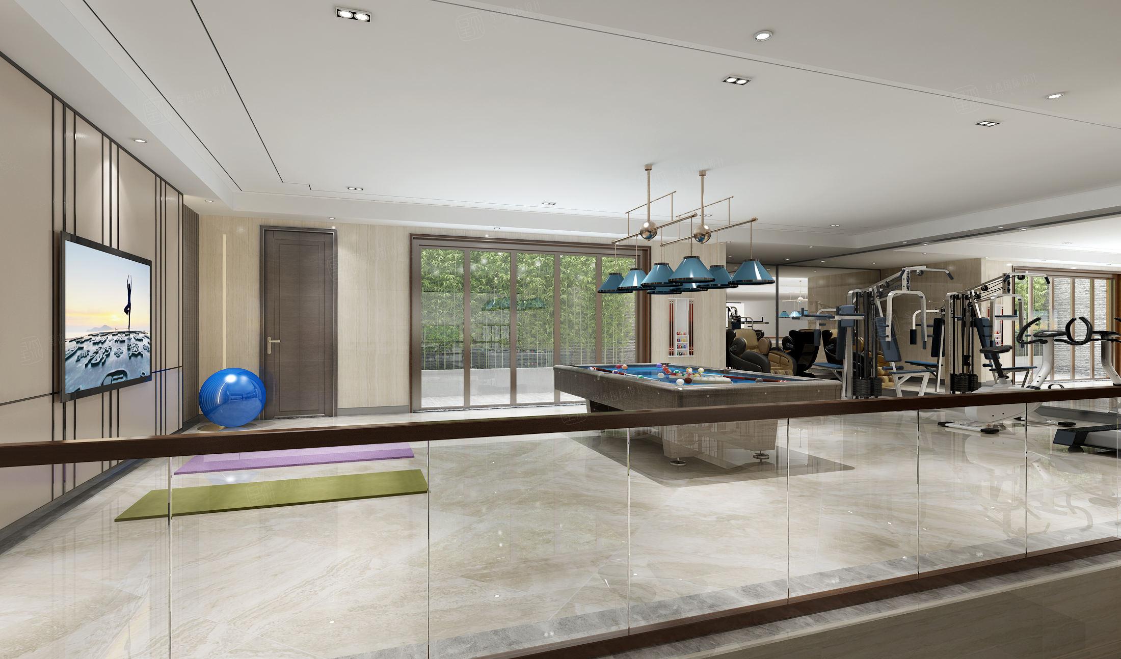 中海紫御豪庭 中式装修健身房效果图