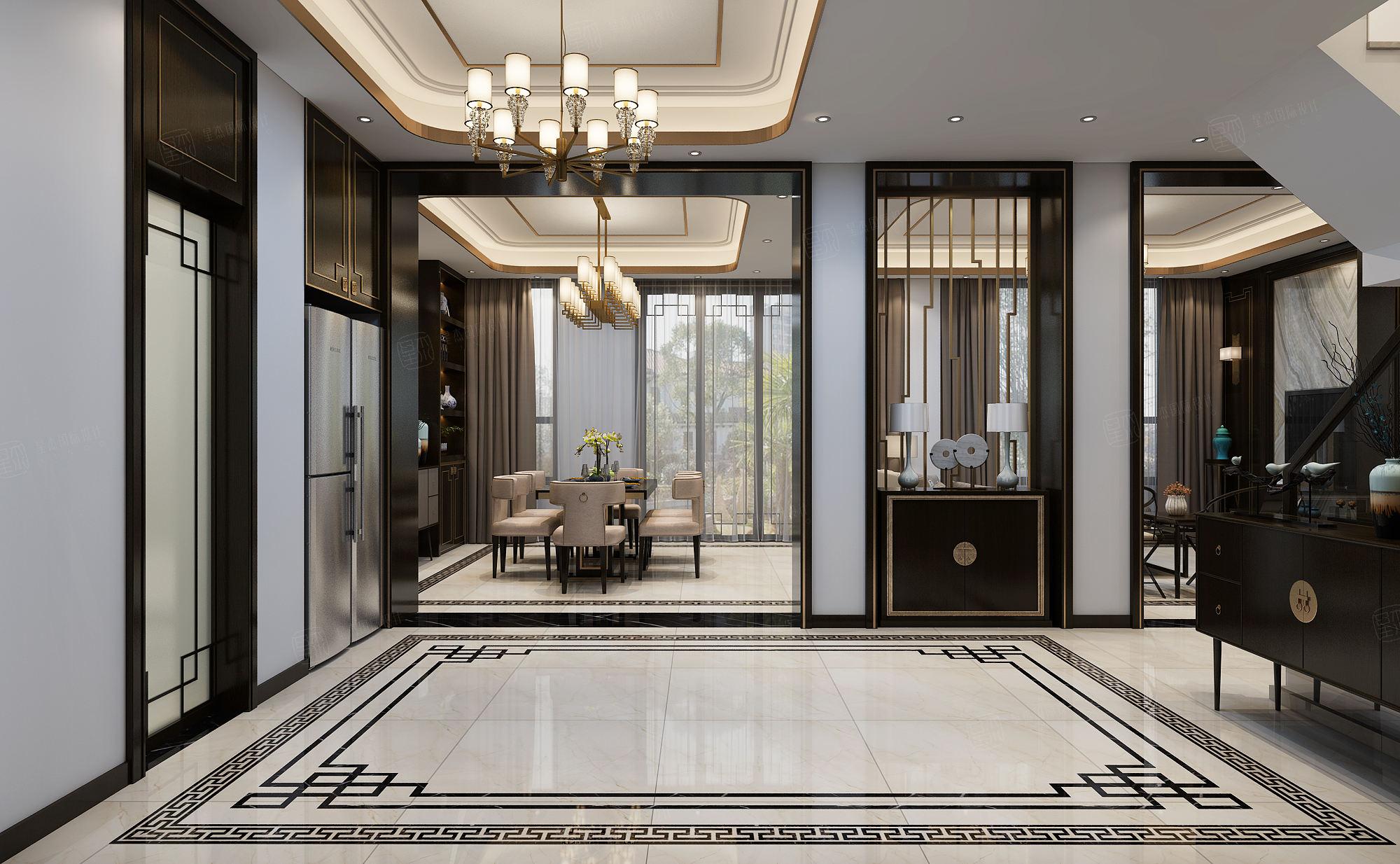 新弘墅园 新中式装修门厅效果图