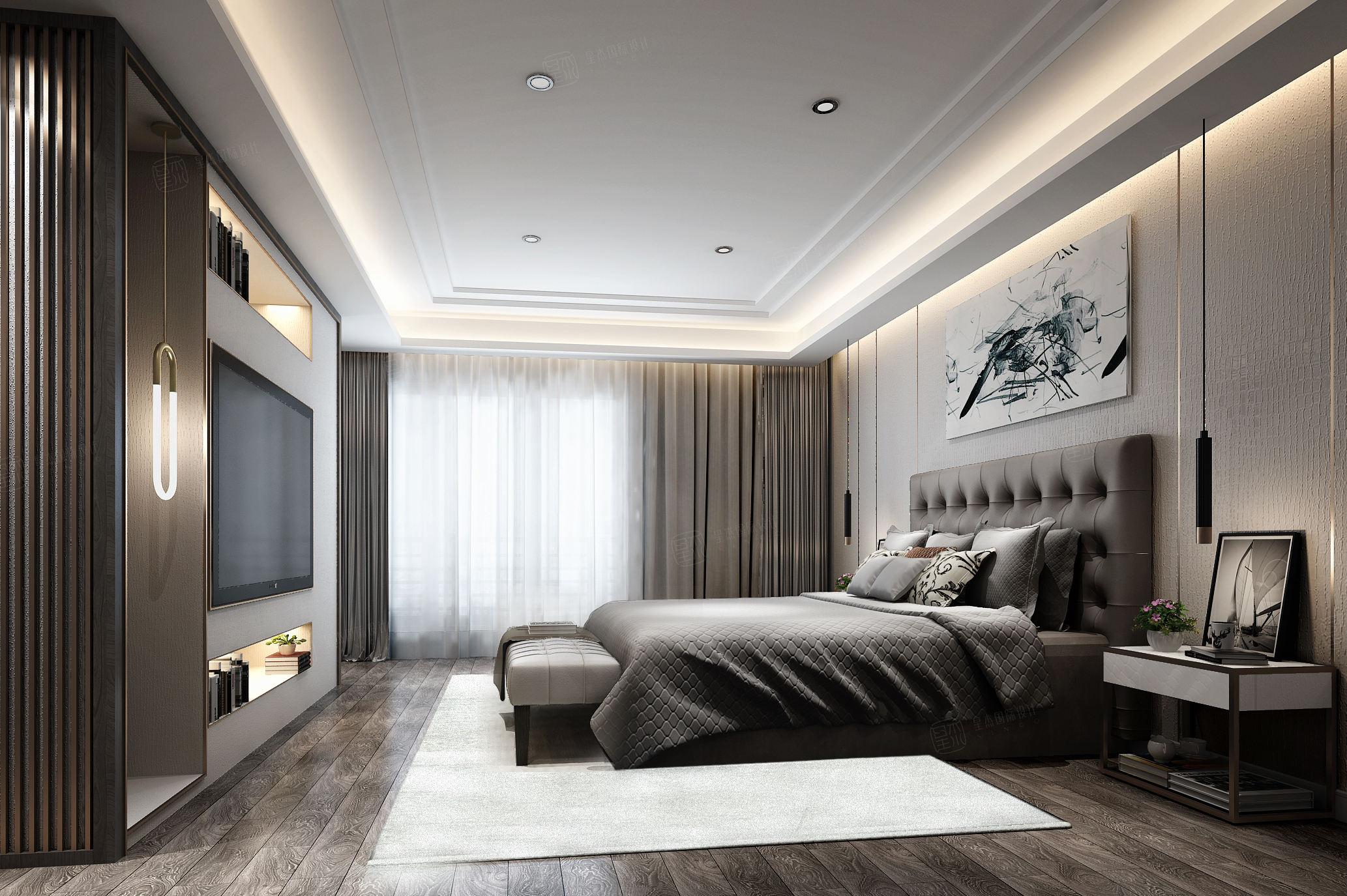 绿地香颂 现代港式装修卧室效果图