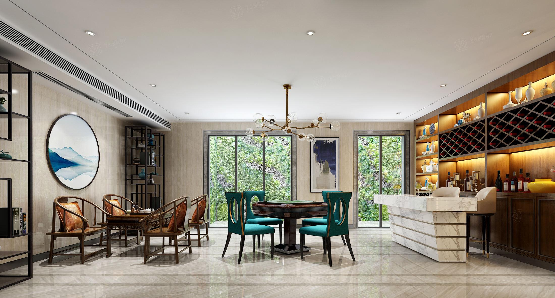 中海紫御豪庭 中式装修休闲厅效果图