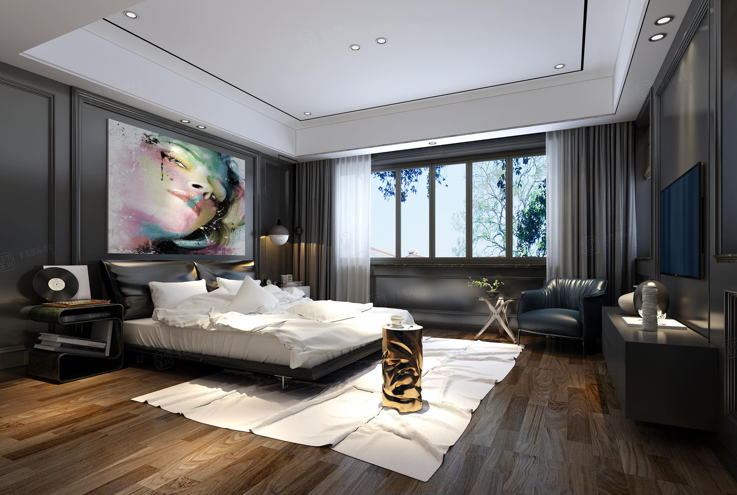 龙湖蓝湖郡 现代欧式装修卧室效果图