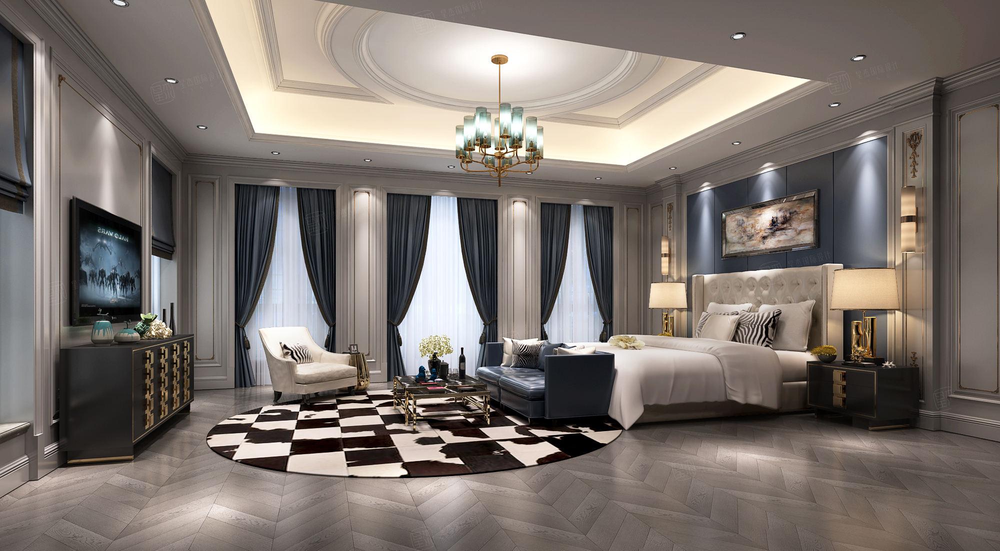 东郊半岛 新中式装修卧室效果图