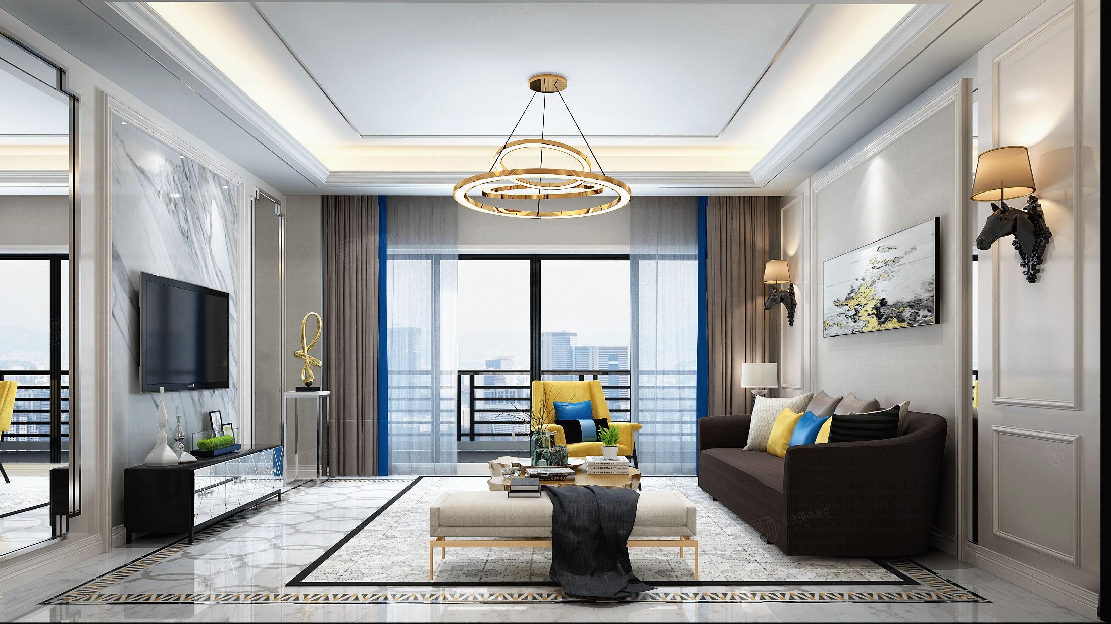 尚海郦景 现代装修客厅效果图