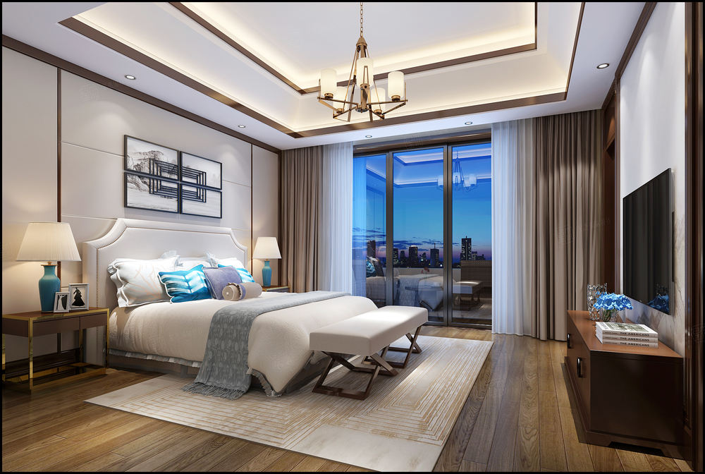 绿地海域天境 新中式装修卧室效果图
