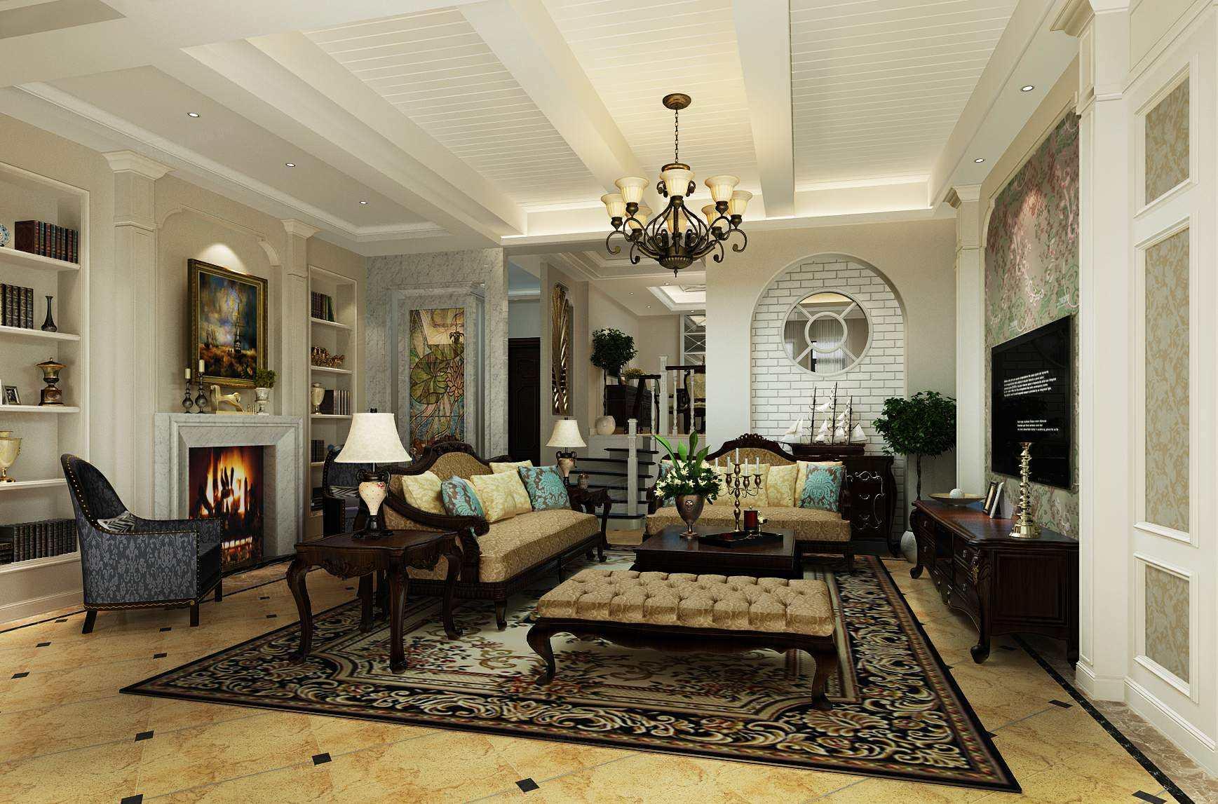 南郊中华园 美式装修客厅效果图