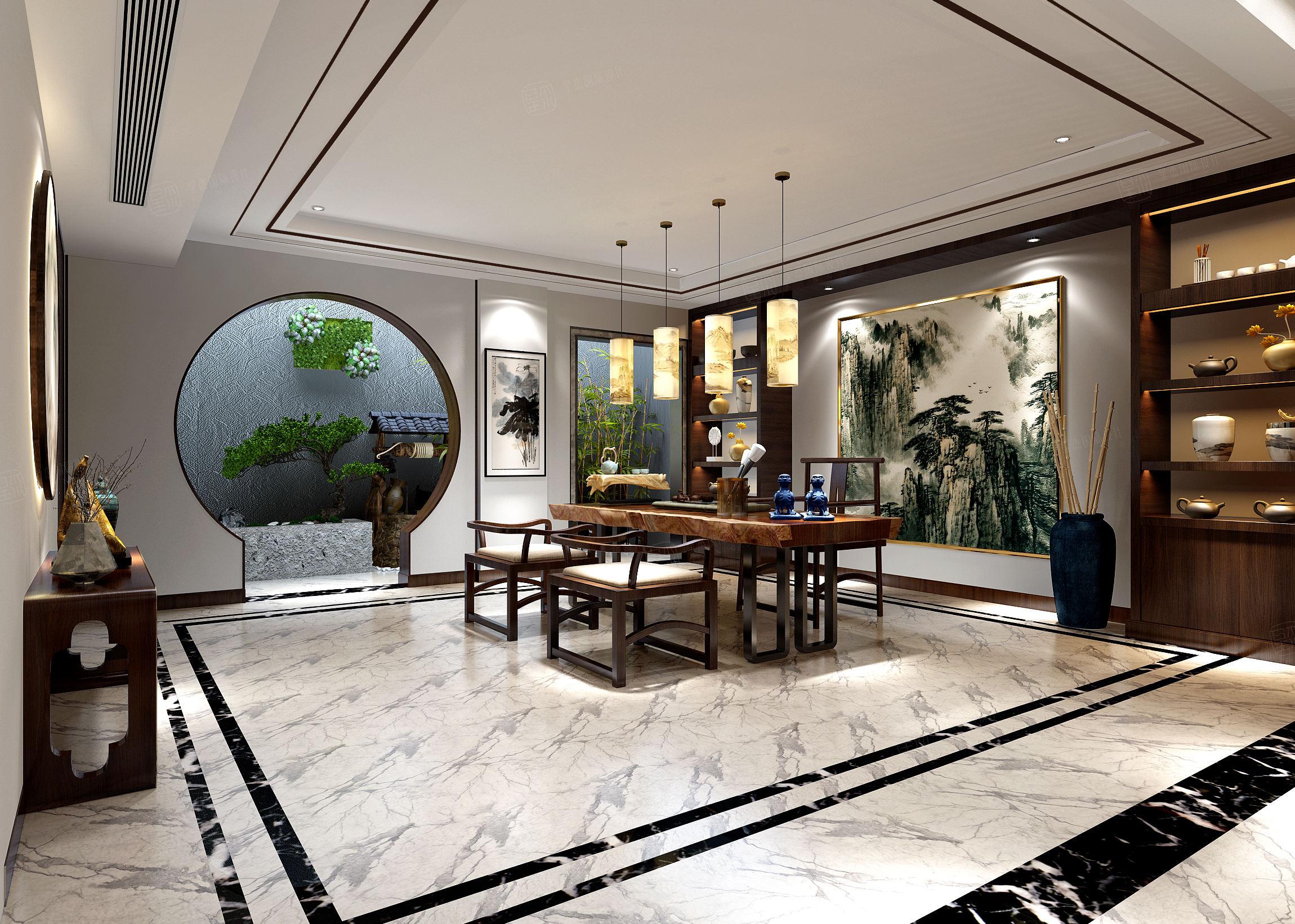 中海紫御豪庭 新中式装修茶室效果图
