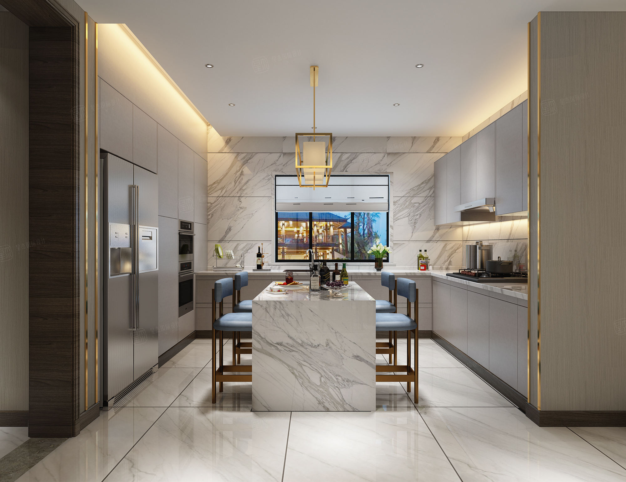 东海御庭 现代中式装修厨房效果图