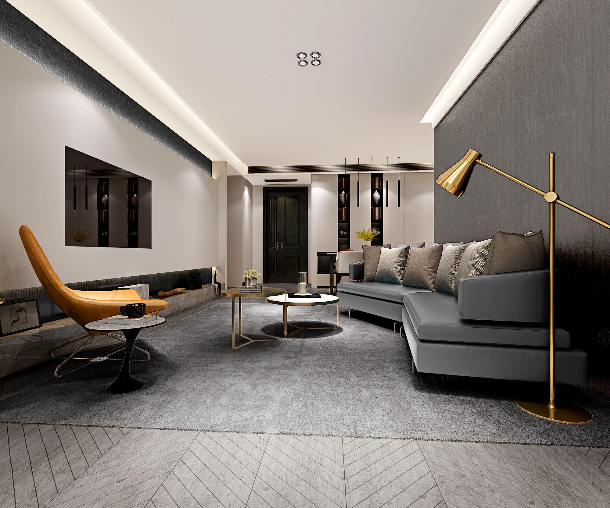 尚海郦景 极简主义装修客厅效果图