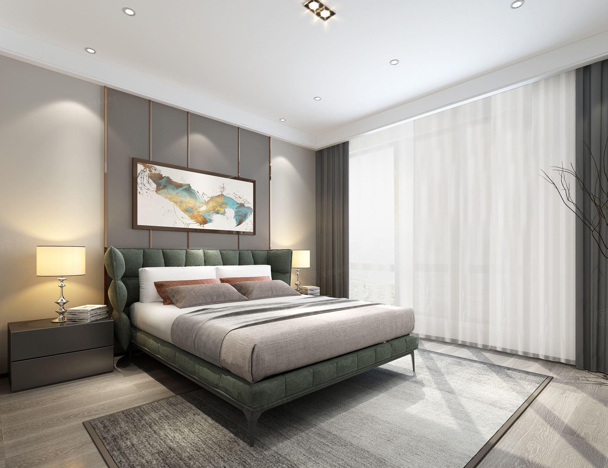 中海紫御豪庭 中式装修卧室效果图
