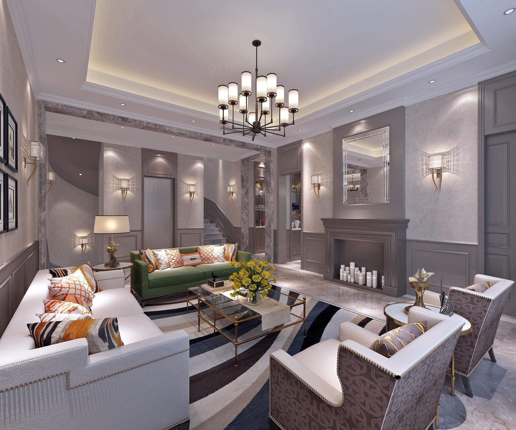 万科翡翠别墅 美式装修客厅效果图