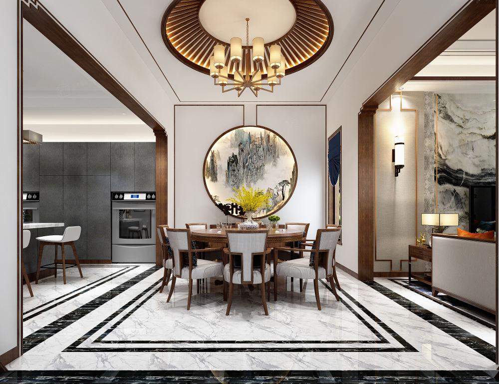 中海紫御豪庭 新中式装修餐厅效果图