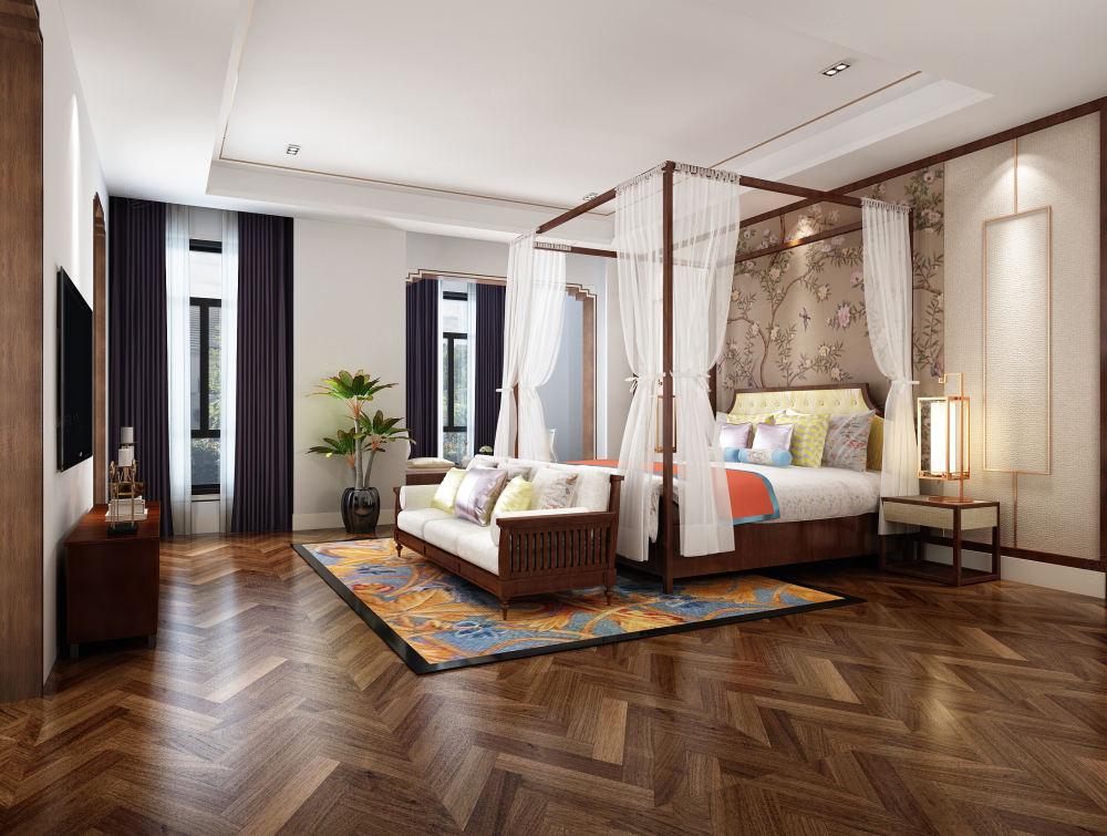 中海紫御豪庭 新中式装修卧室效果图