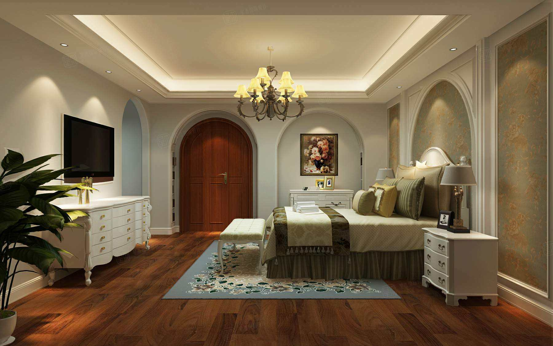 南郊中华园 美式装修卧室效果图