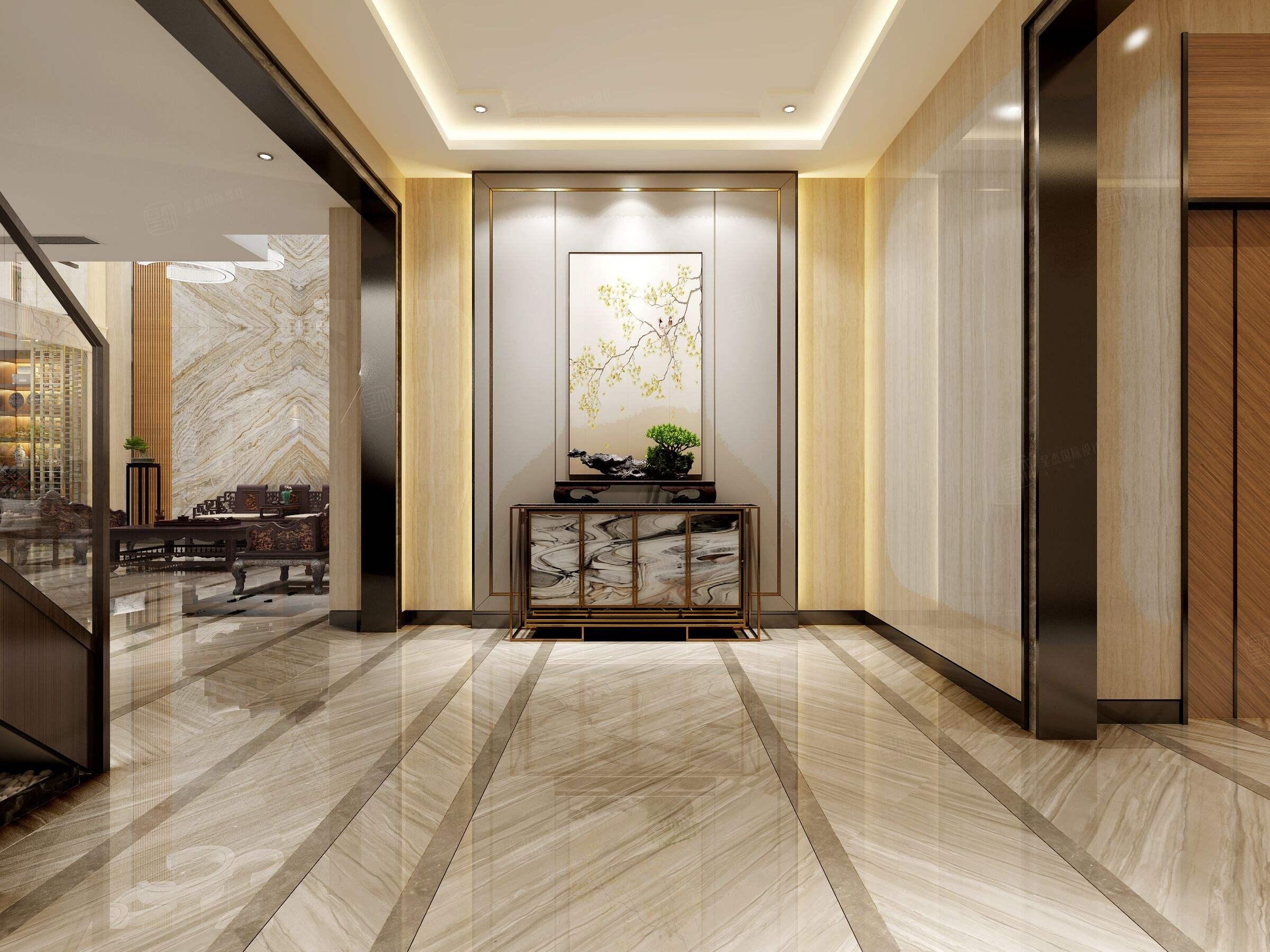 中海紫御豪庭 中式装修玄关效果图