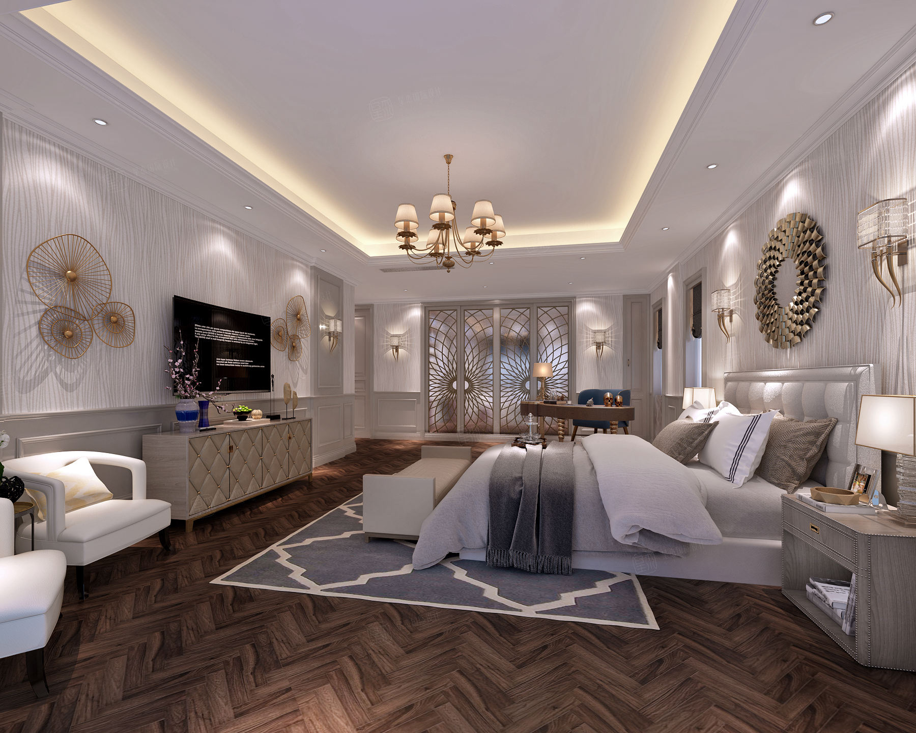 万科翡翠别墅 美式装修卧室效果图