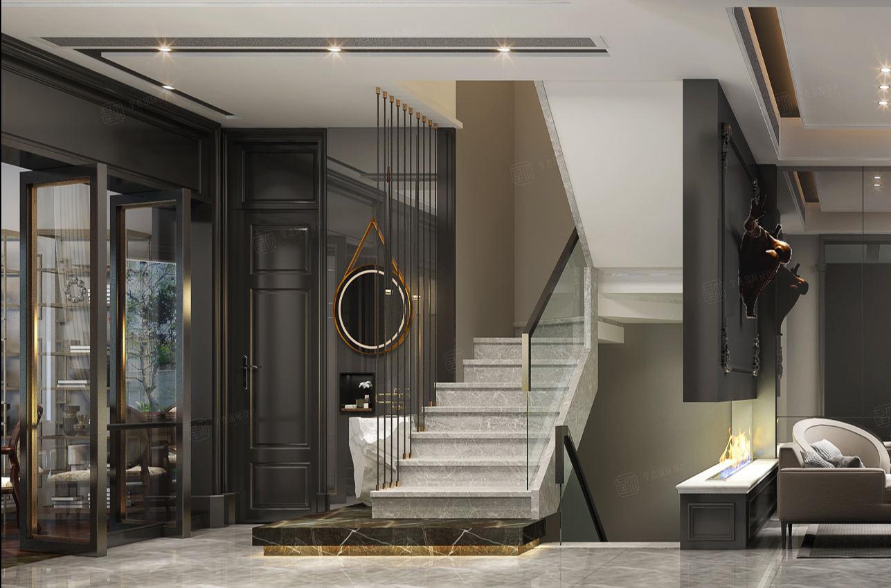 龙湖蓝湖郡 现代欧式装修楼梯效果图