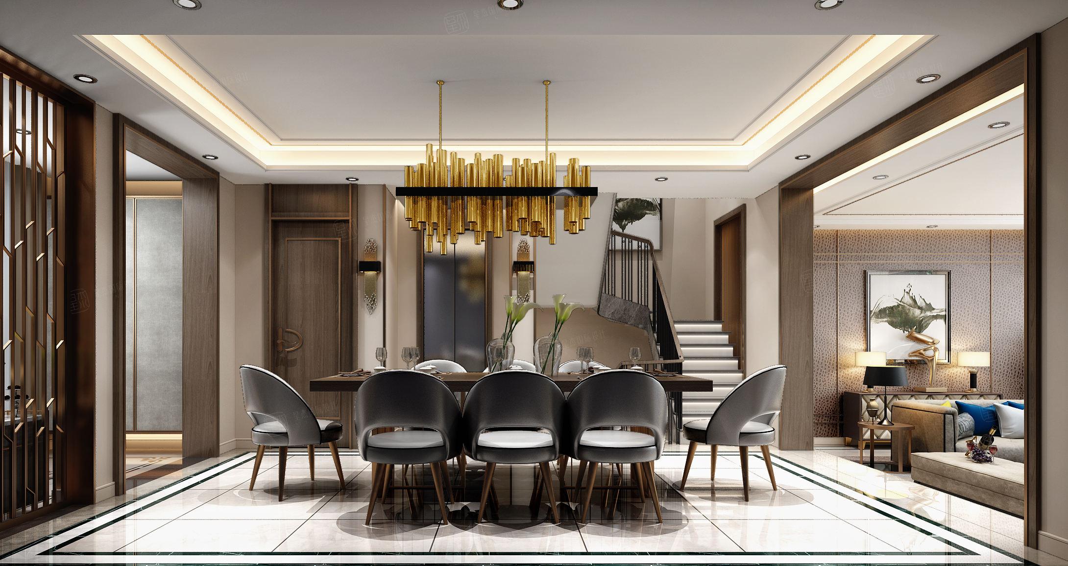 绿地香颂 现代港式装修餐厅效果图