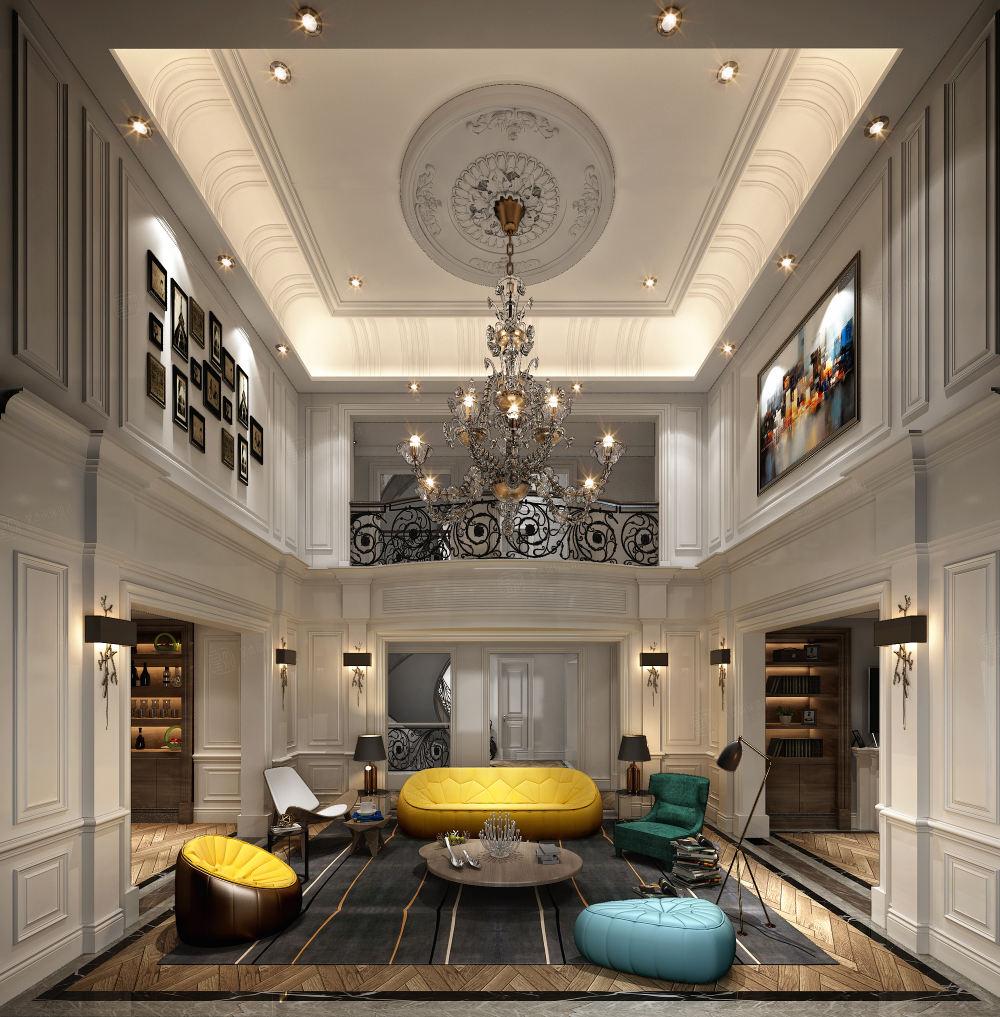 安墁西郊 现代简约装修客厅效果图