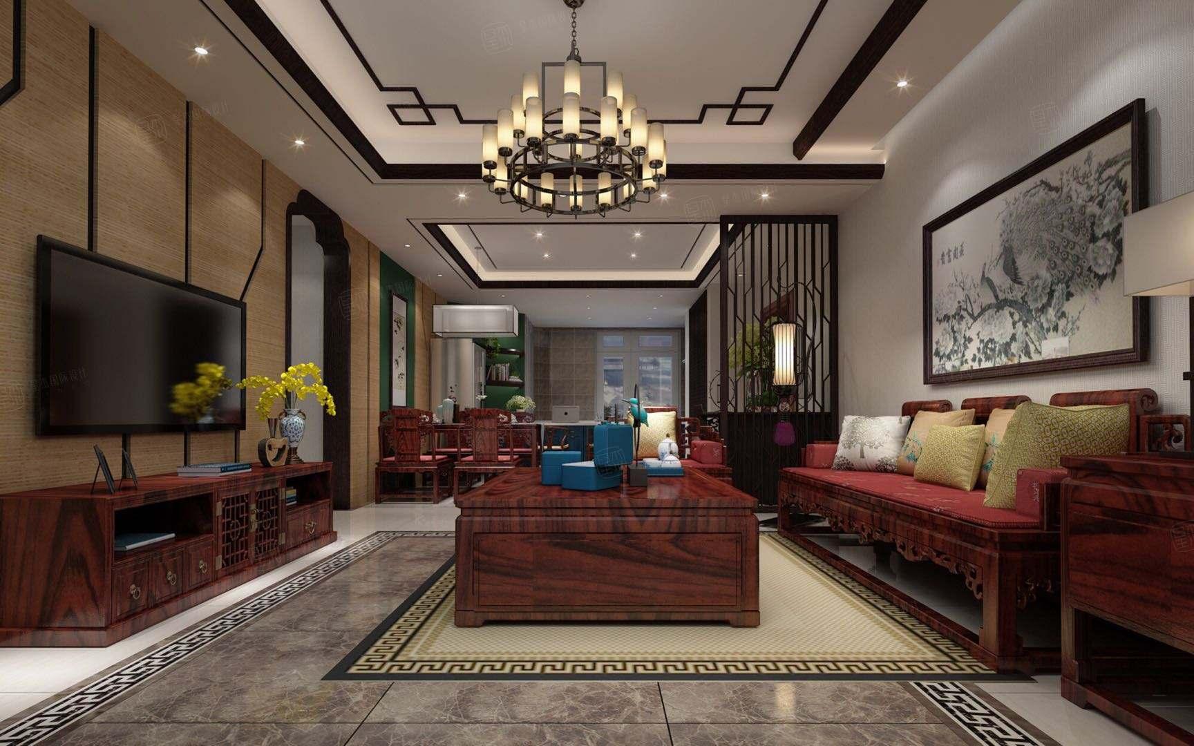 新中式风格-中粮大道装修客厅效果图