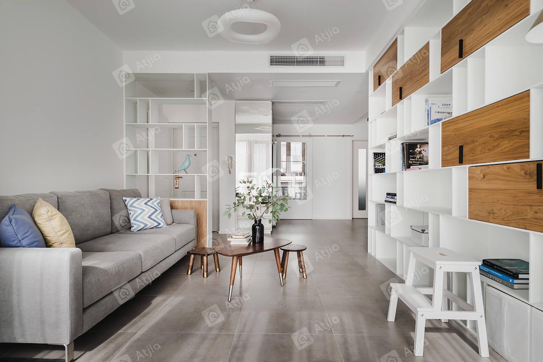 申江豪城实景 现代简约装修客厅效果图