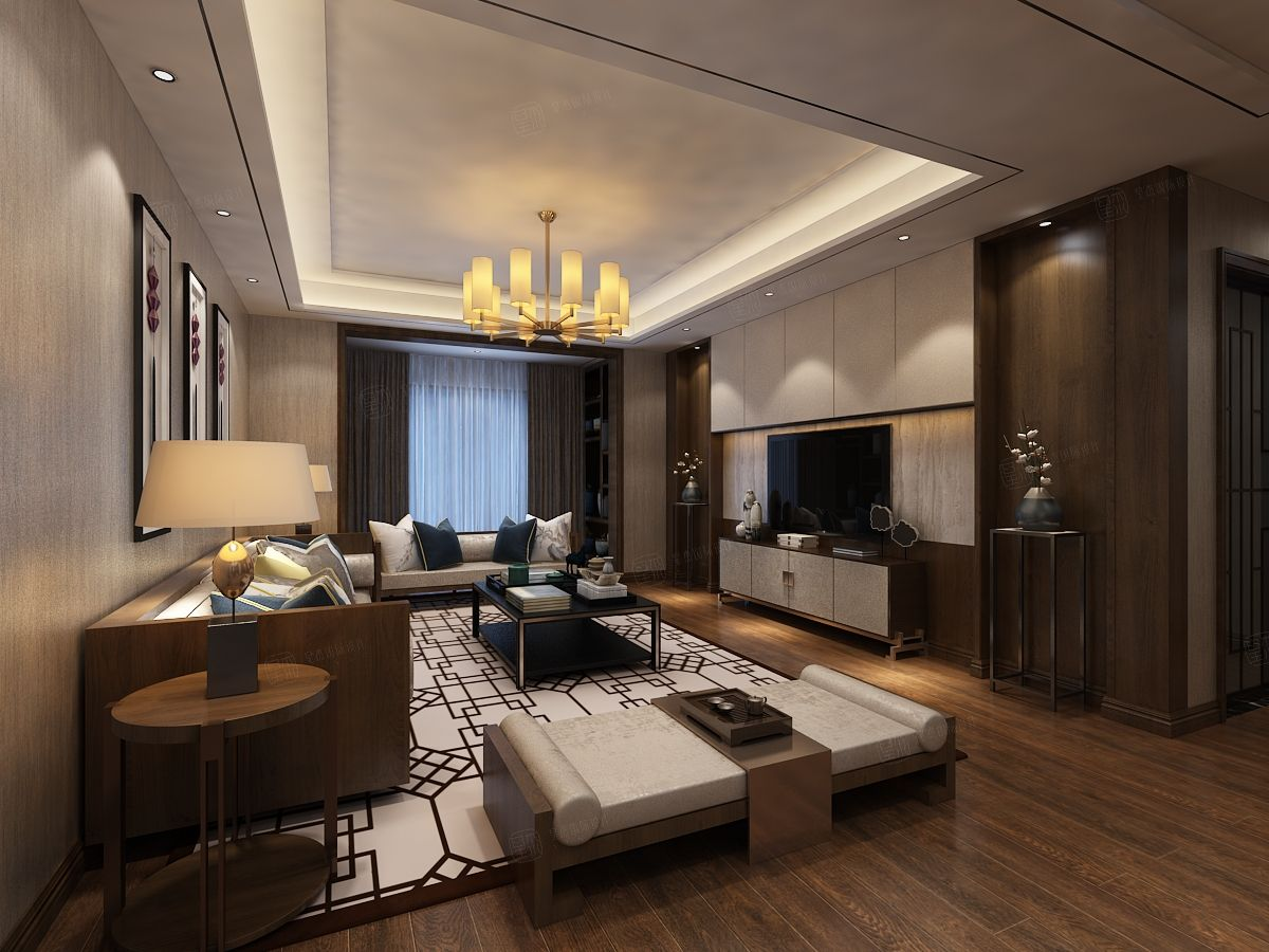 北京私人别墅 新中式装修客厅效果图