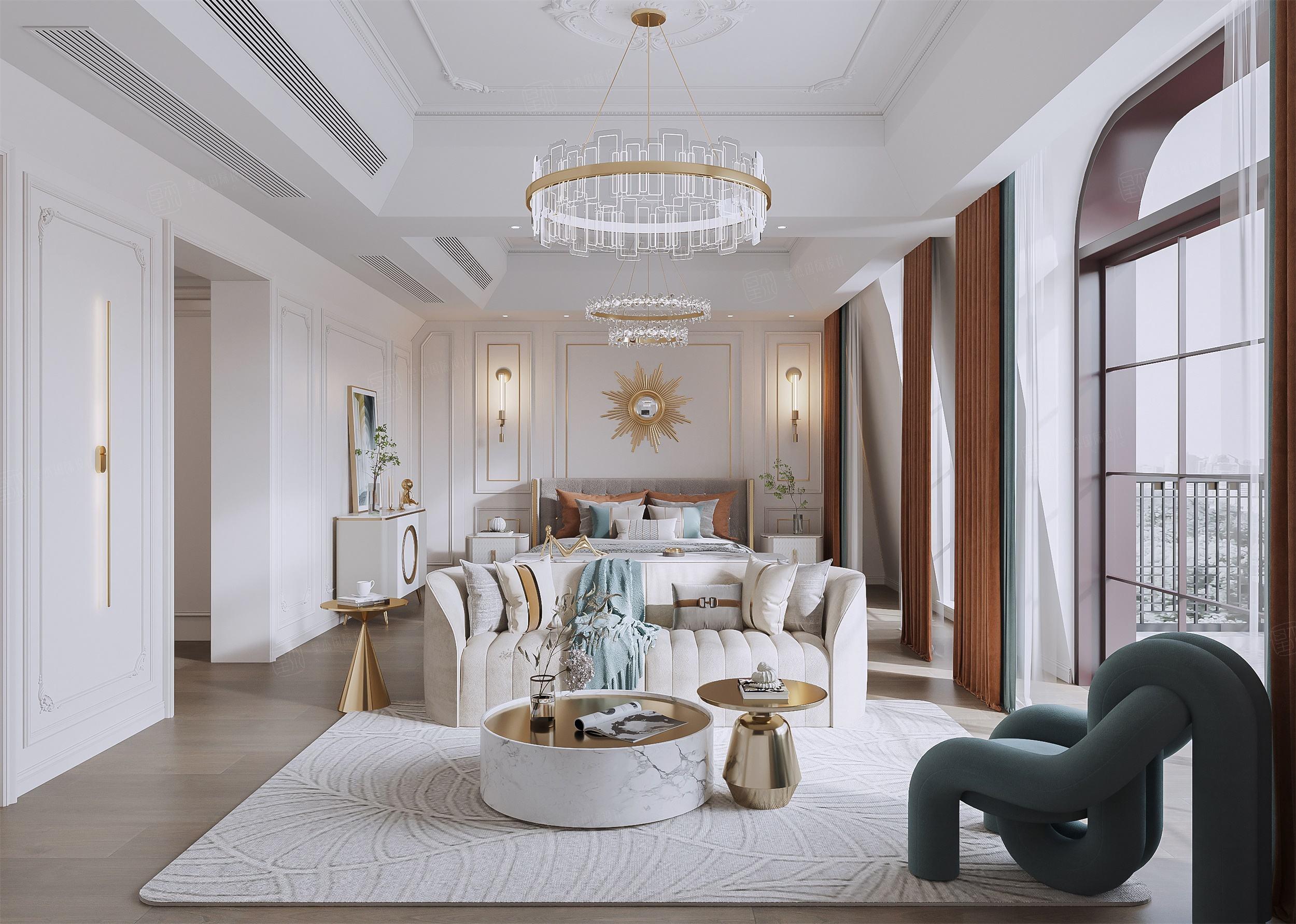 新城花园  法式轻奢装修卧室效果图