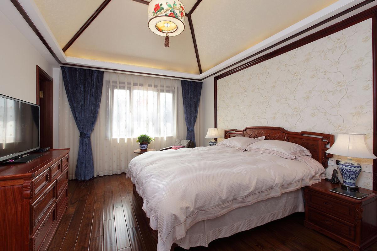 中景水岸 中式装修卧室效果图