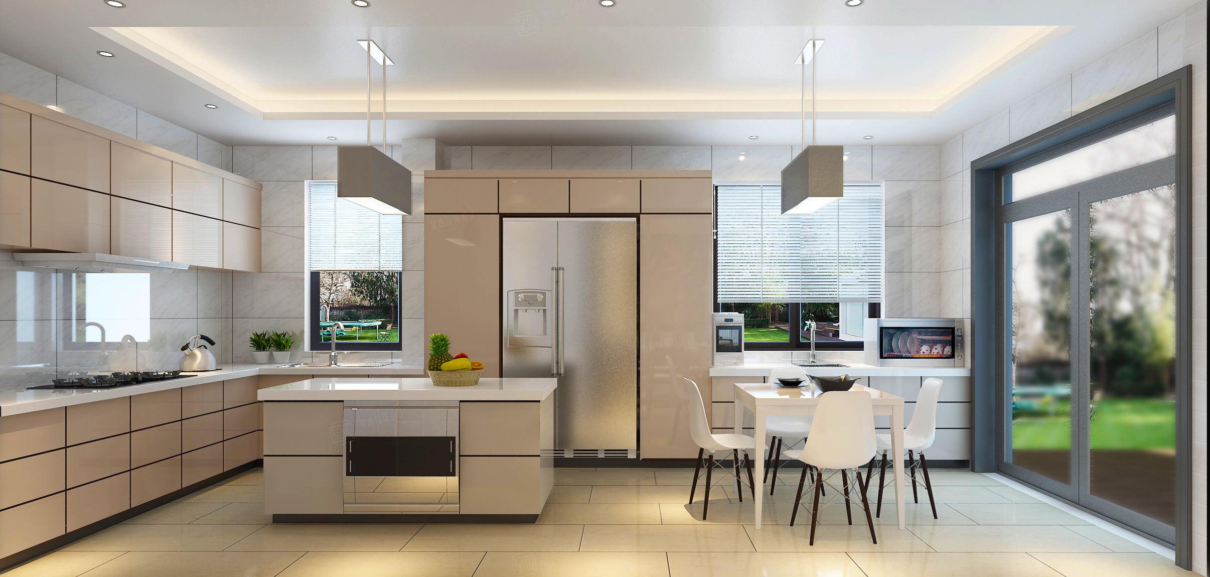 六十四阶 美式简欧混搭装修厨房效果图